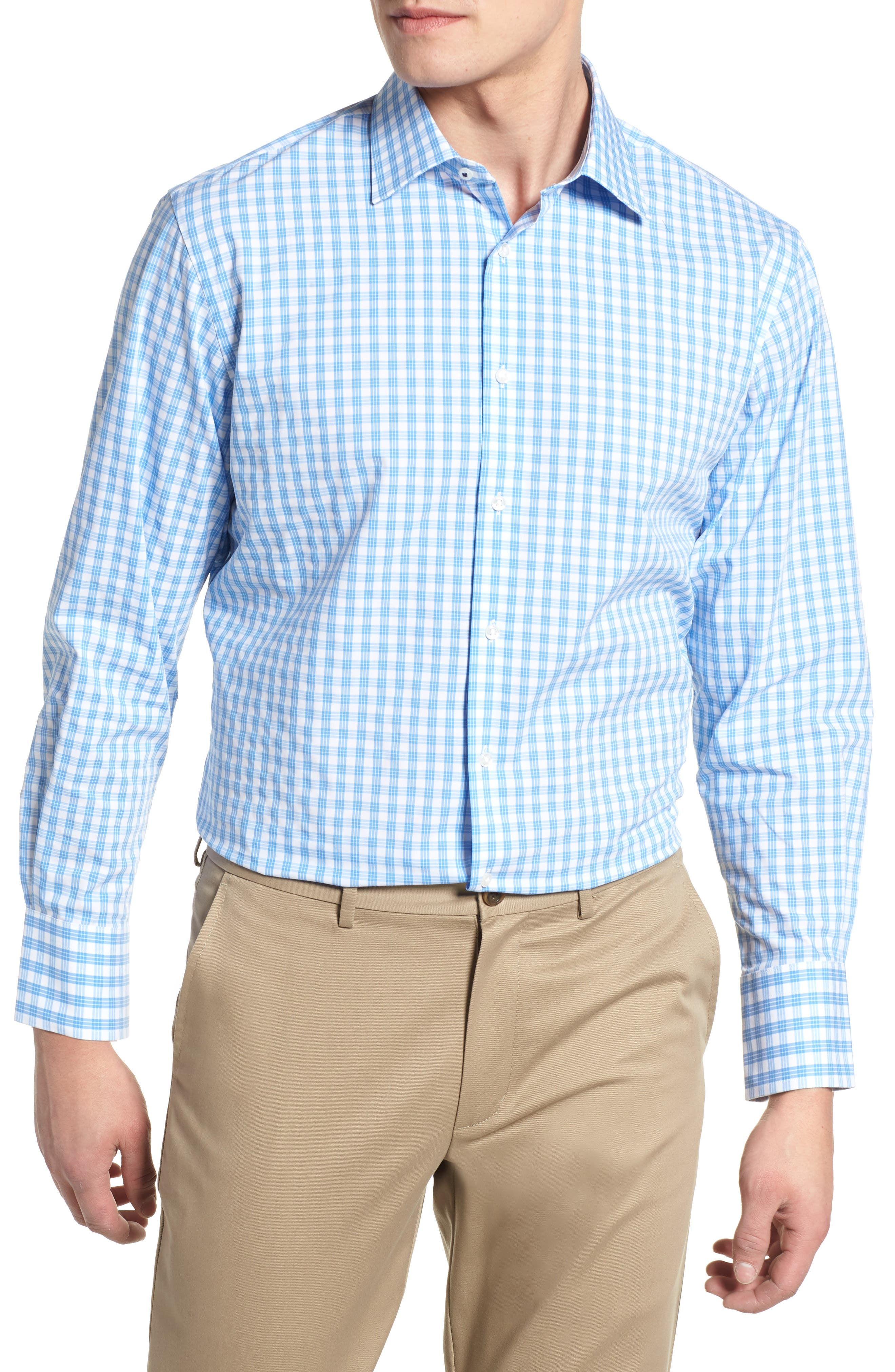 Tech Smart Traditional Fit Stretch Check Dress Shirt,                             Main thumbnail 1, color,                             Blue Lake