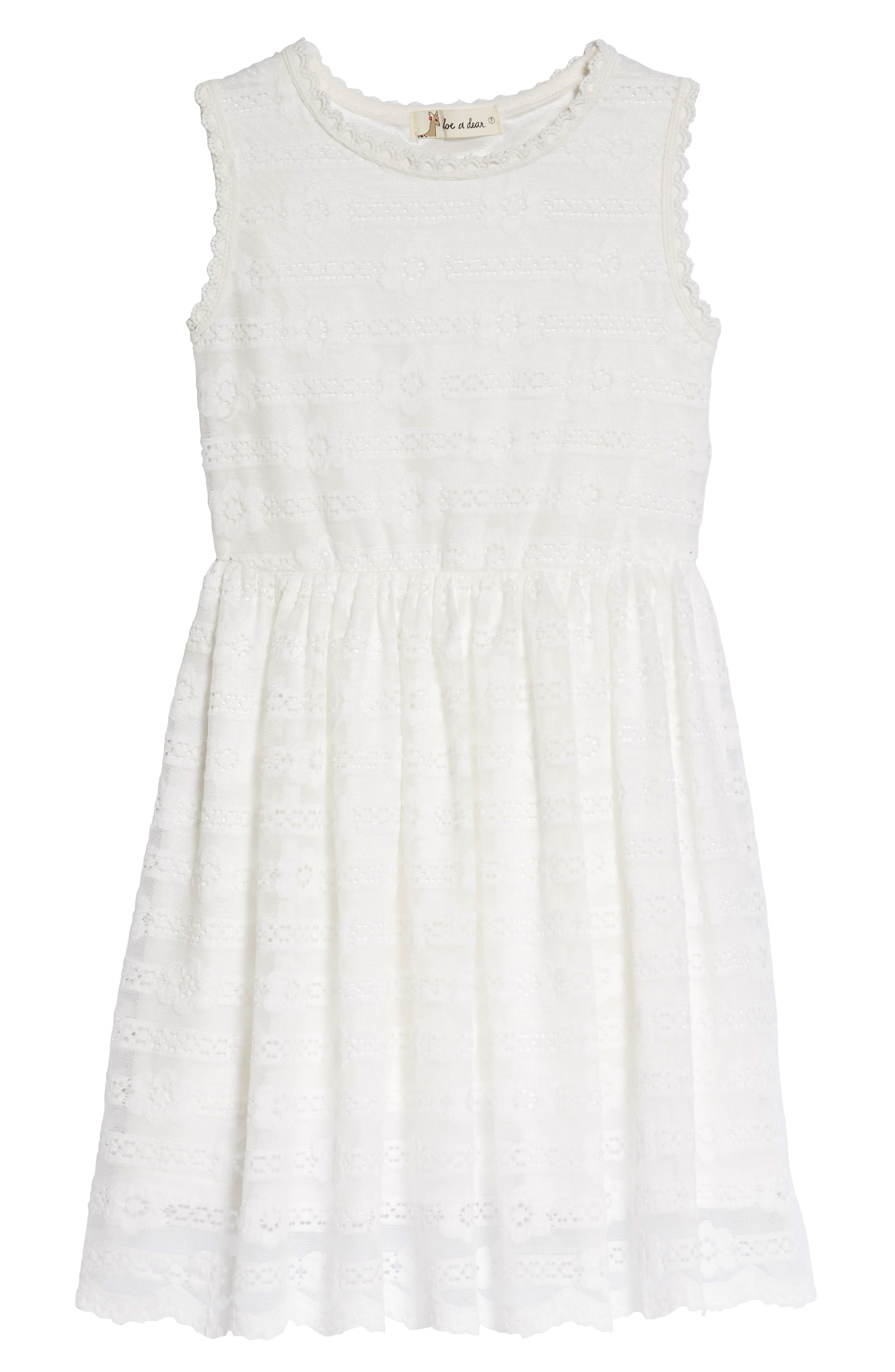 Lace Fit & Flare Dress,                             Main thumbnail 1, color,                             White