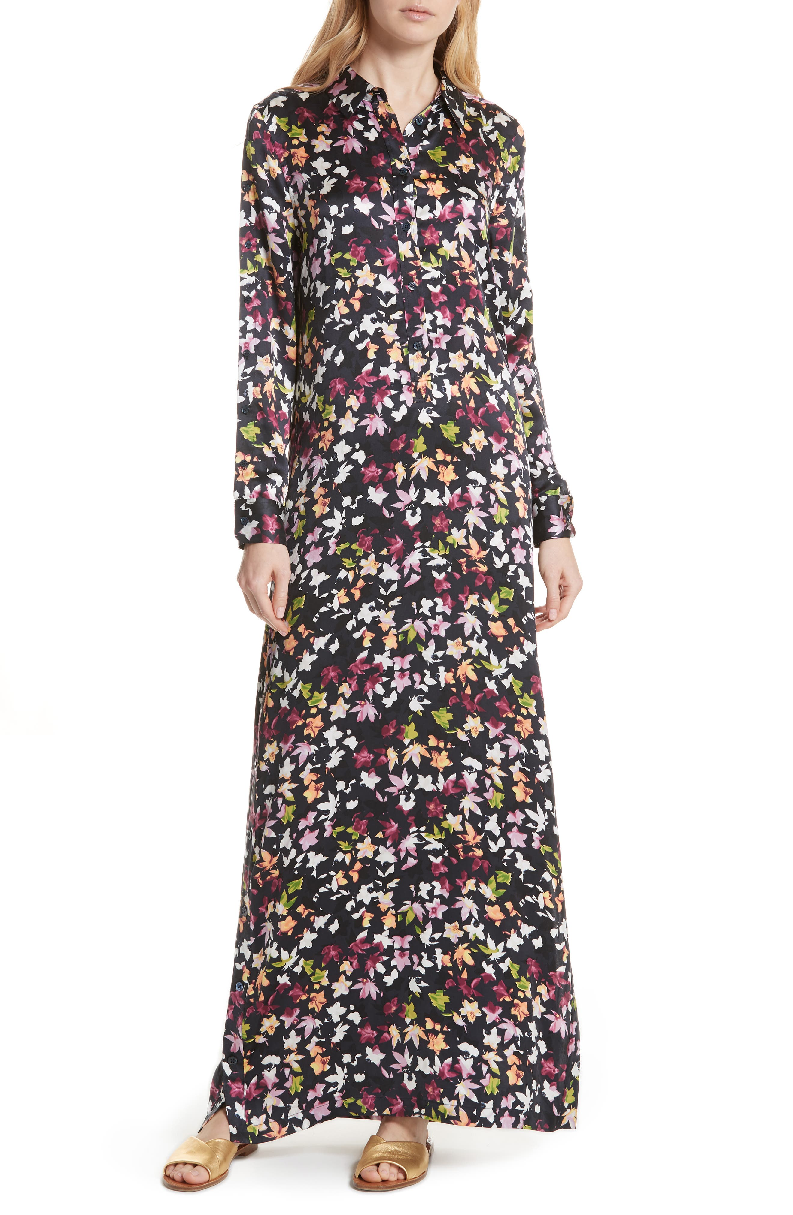 Simone Floral Silk Button Sleeve Maxi Dress,                         Main,                         color, Eclipse Multi