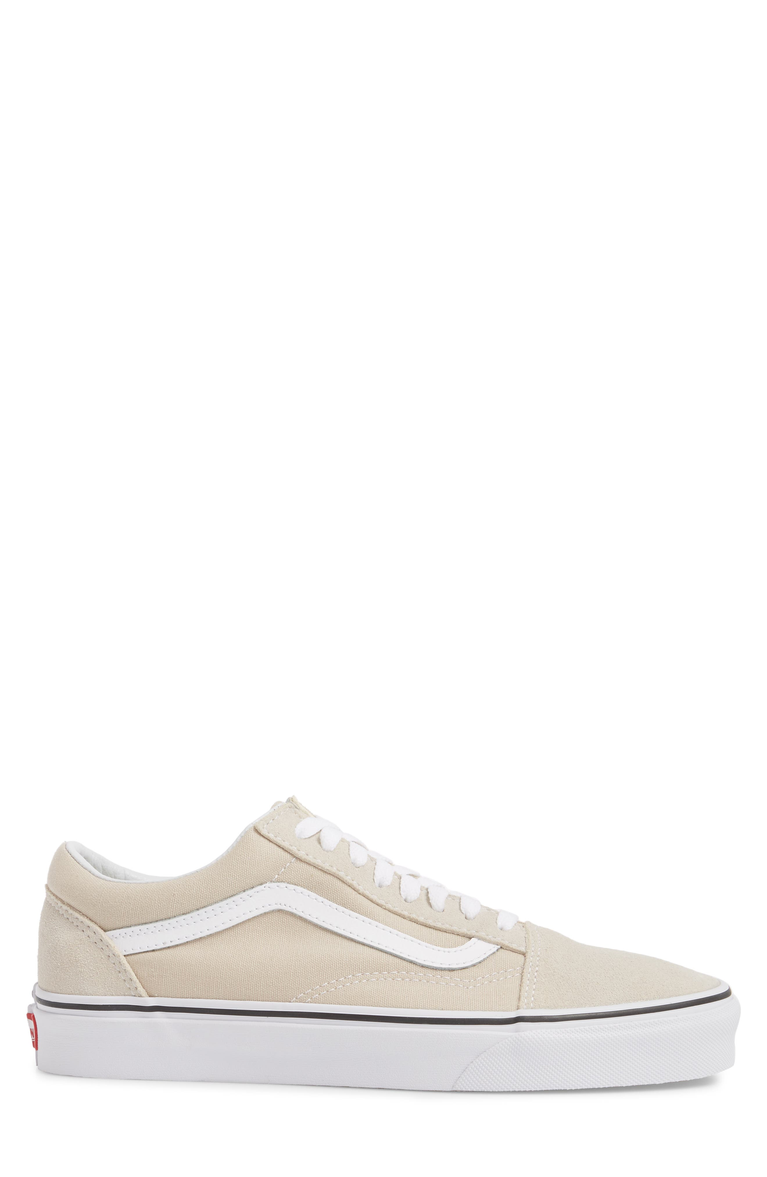 Old Skool Low Top Sneaker,                             Alternate thumbnail 3, color,                             Silver Lining/ White Leather