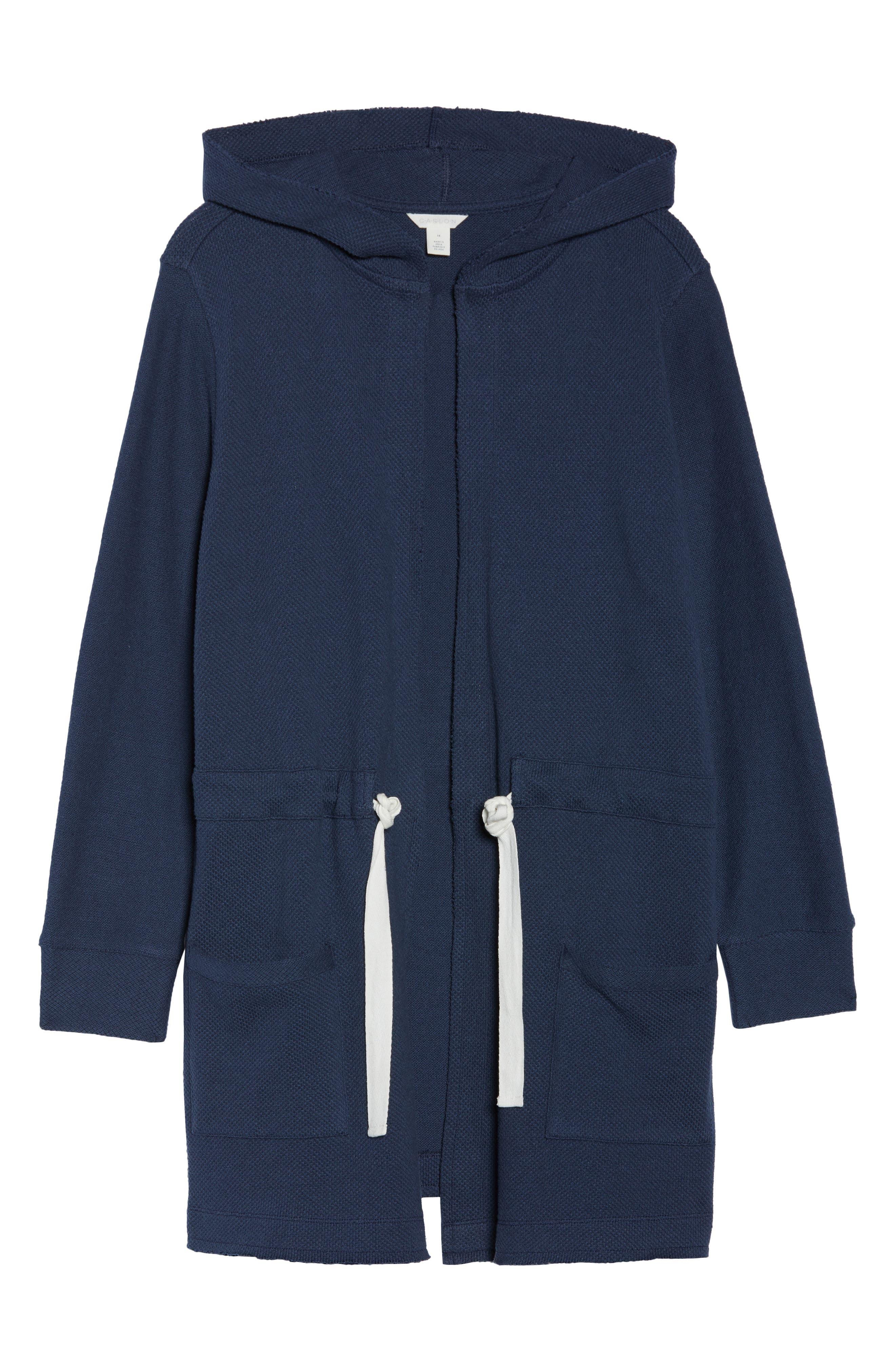 Tie Waist Knit Hooded Jacket,                             Alternate thumbnail 7, color,                             Navy Indigo