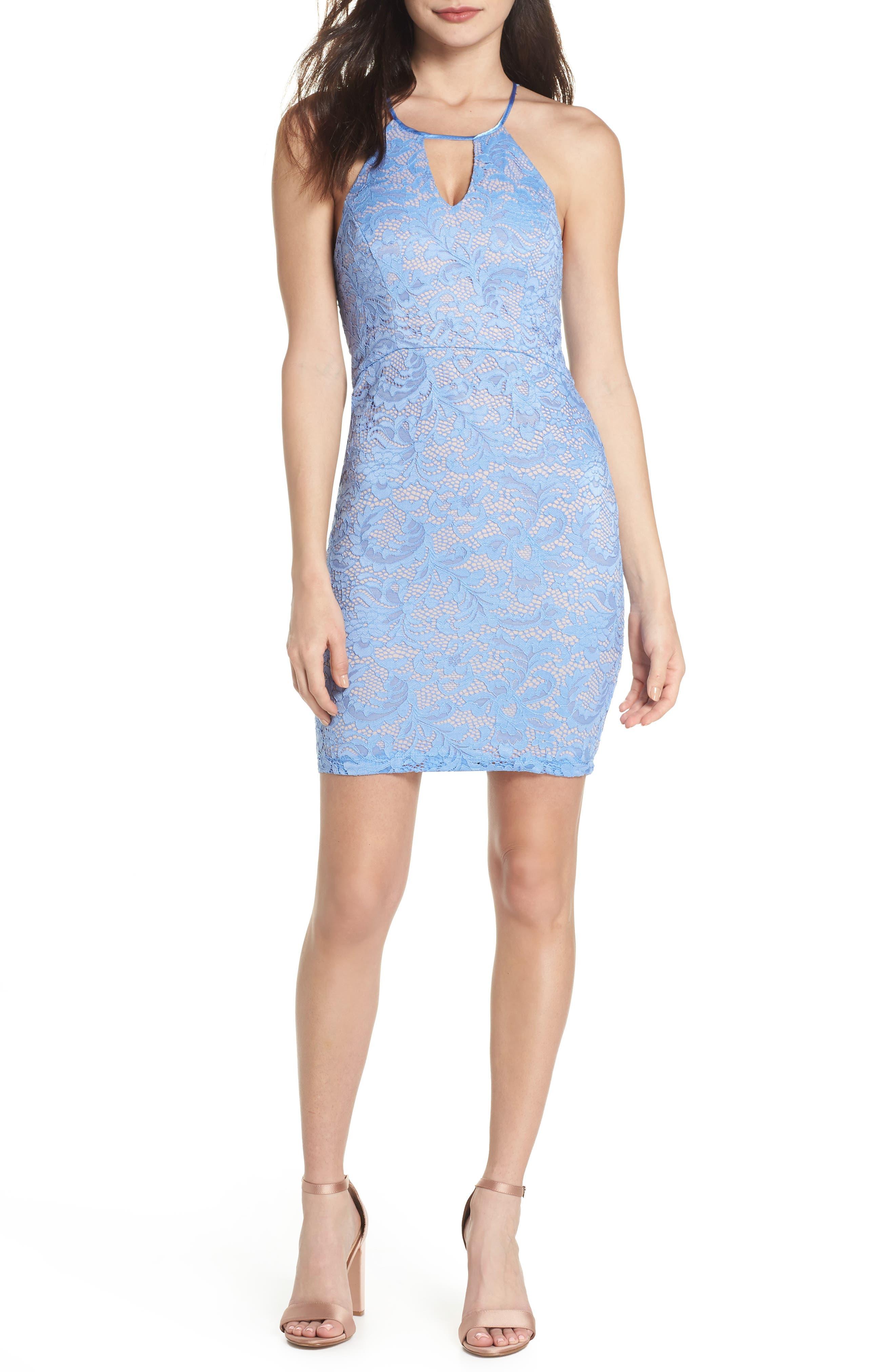 Racerback Lace Halter Dress,                         Main,                         color, Periwinkle/ Mauve