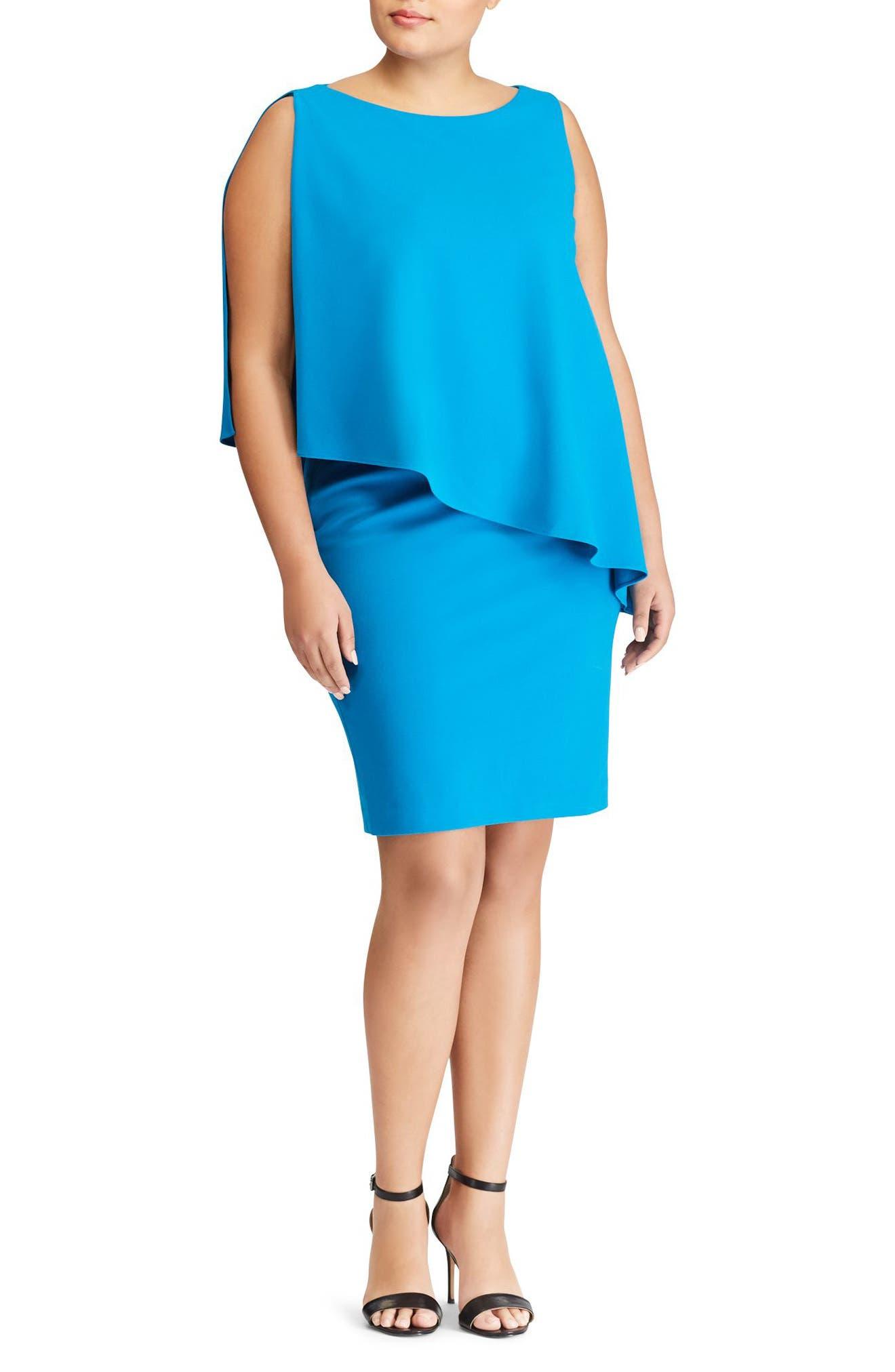 Lauren Ralph Lauren Cooper Overlay Sheath Dress (Plus Size)