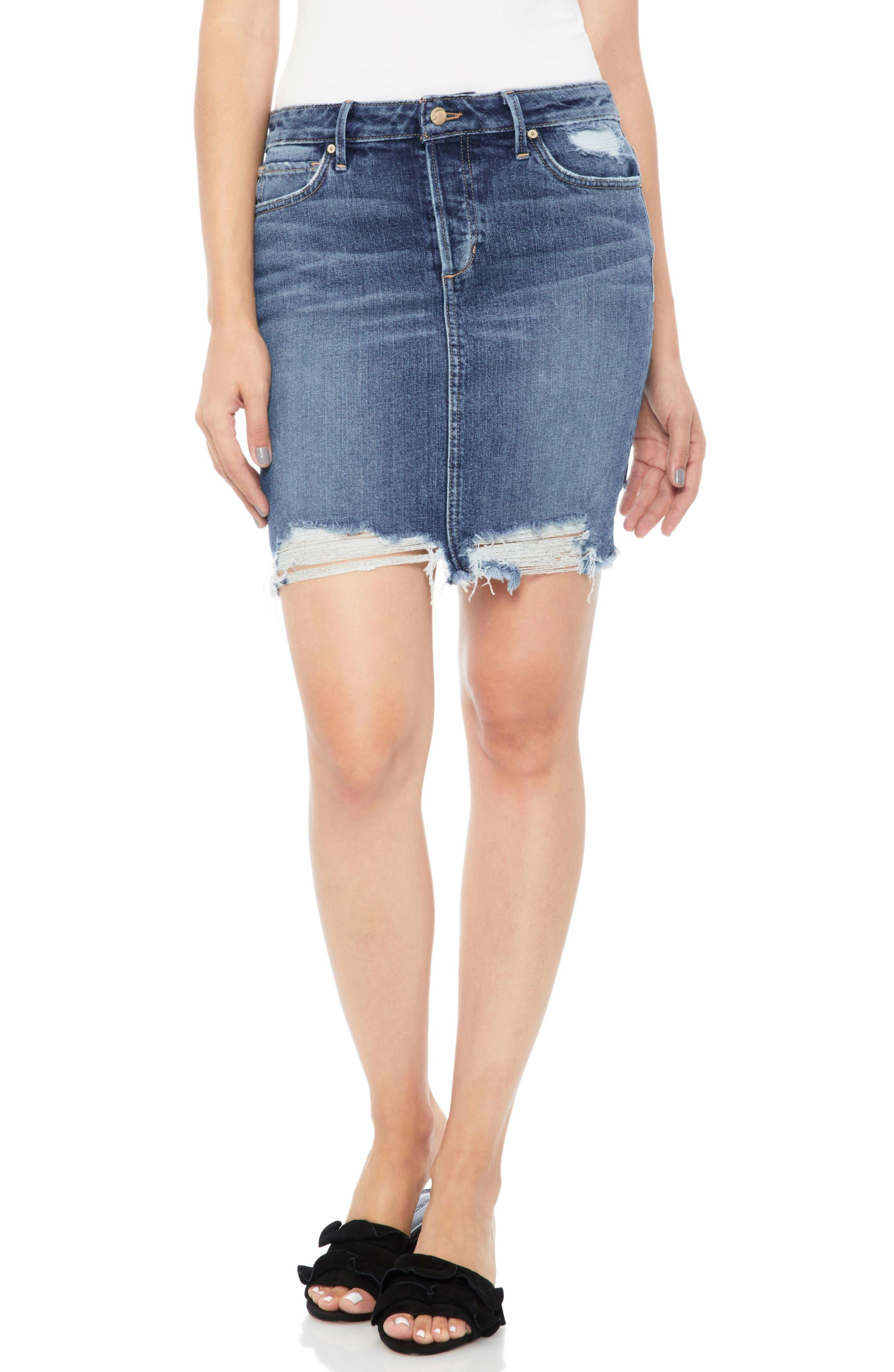 Distressed Denim Pencil Skirt,                         Main,                         color, Skyler