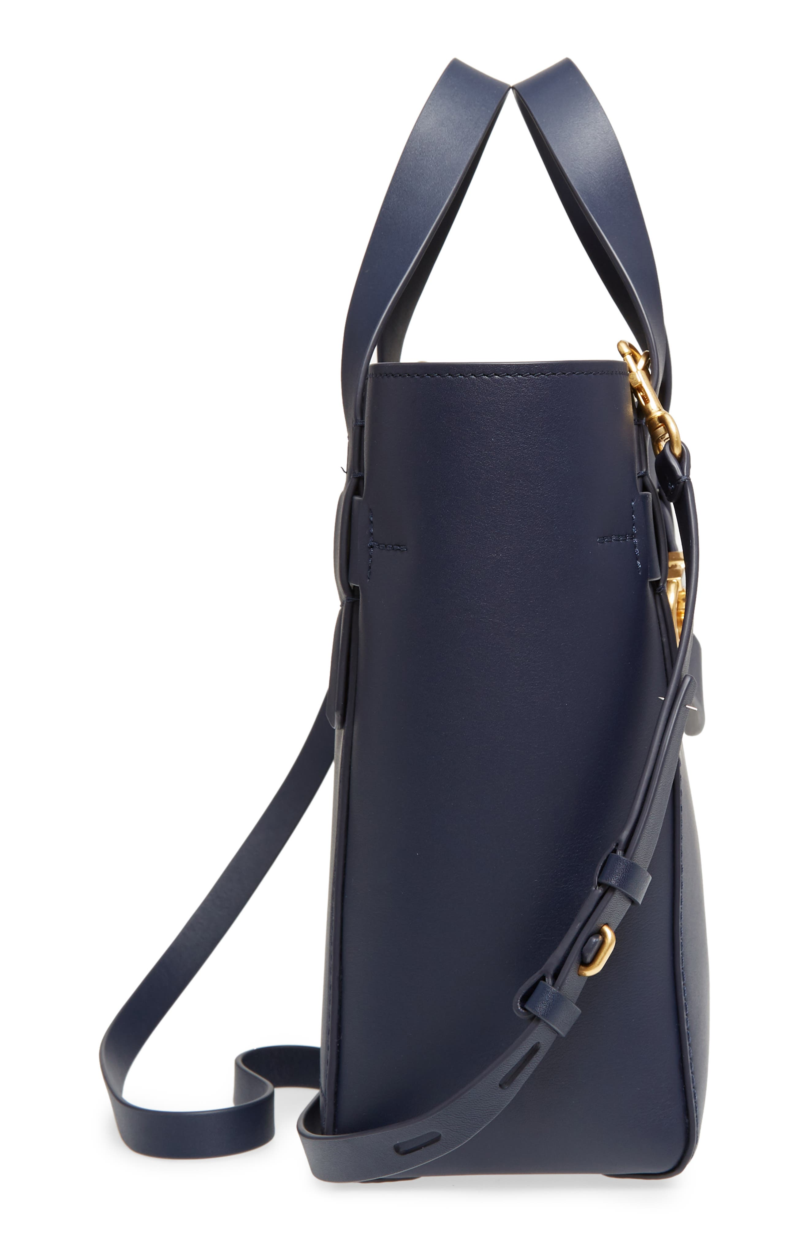Small Gemini Link Leather Tote,                             Alternate thumbnail 5, color,                             Royal Navy