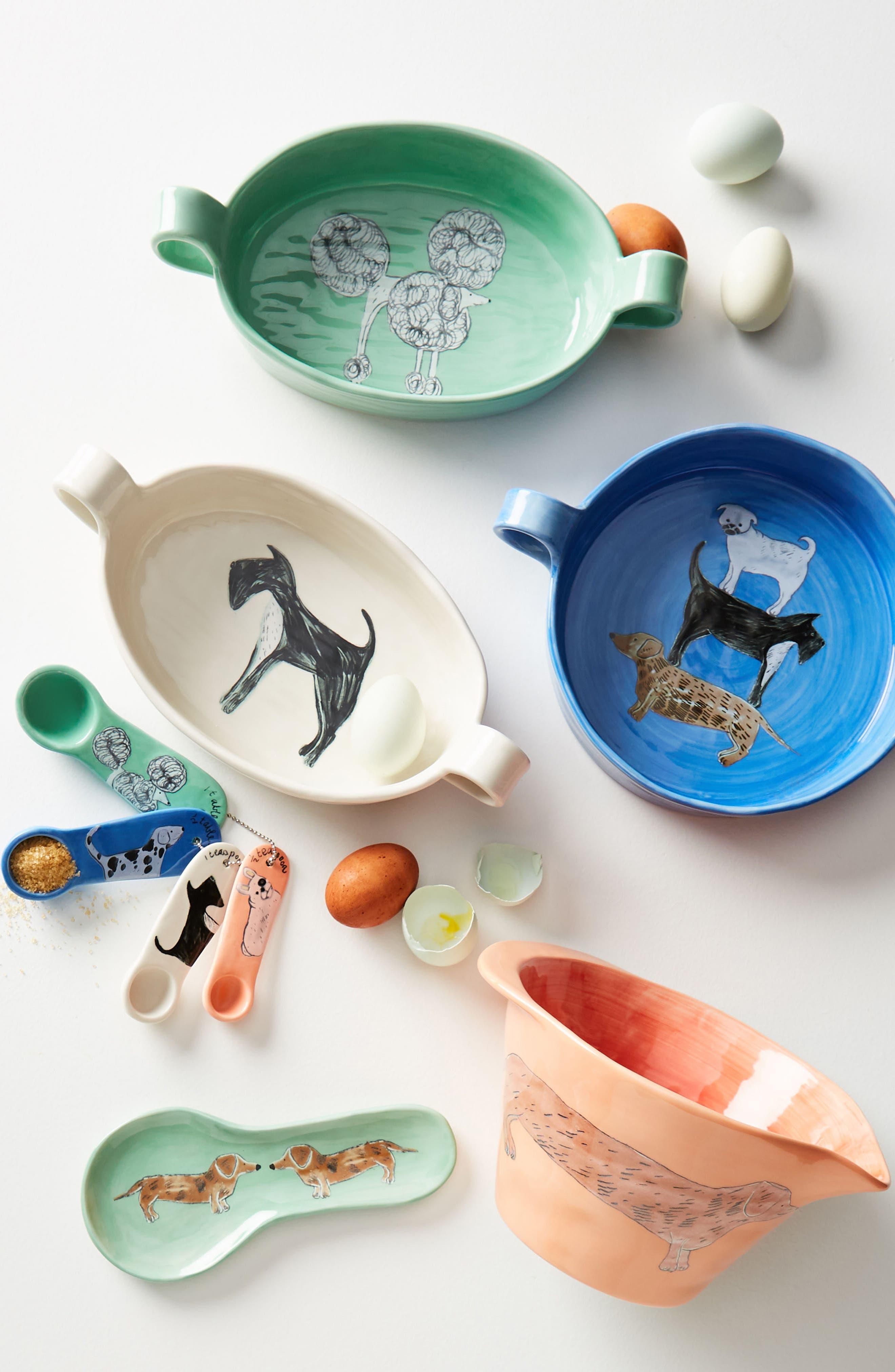 Painted Pup Stoneware Mixing Bowl,                             Alternate thumbnail 2, color,                             Coral