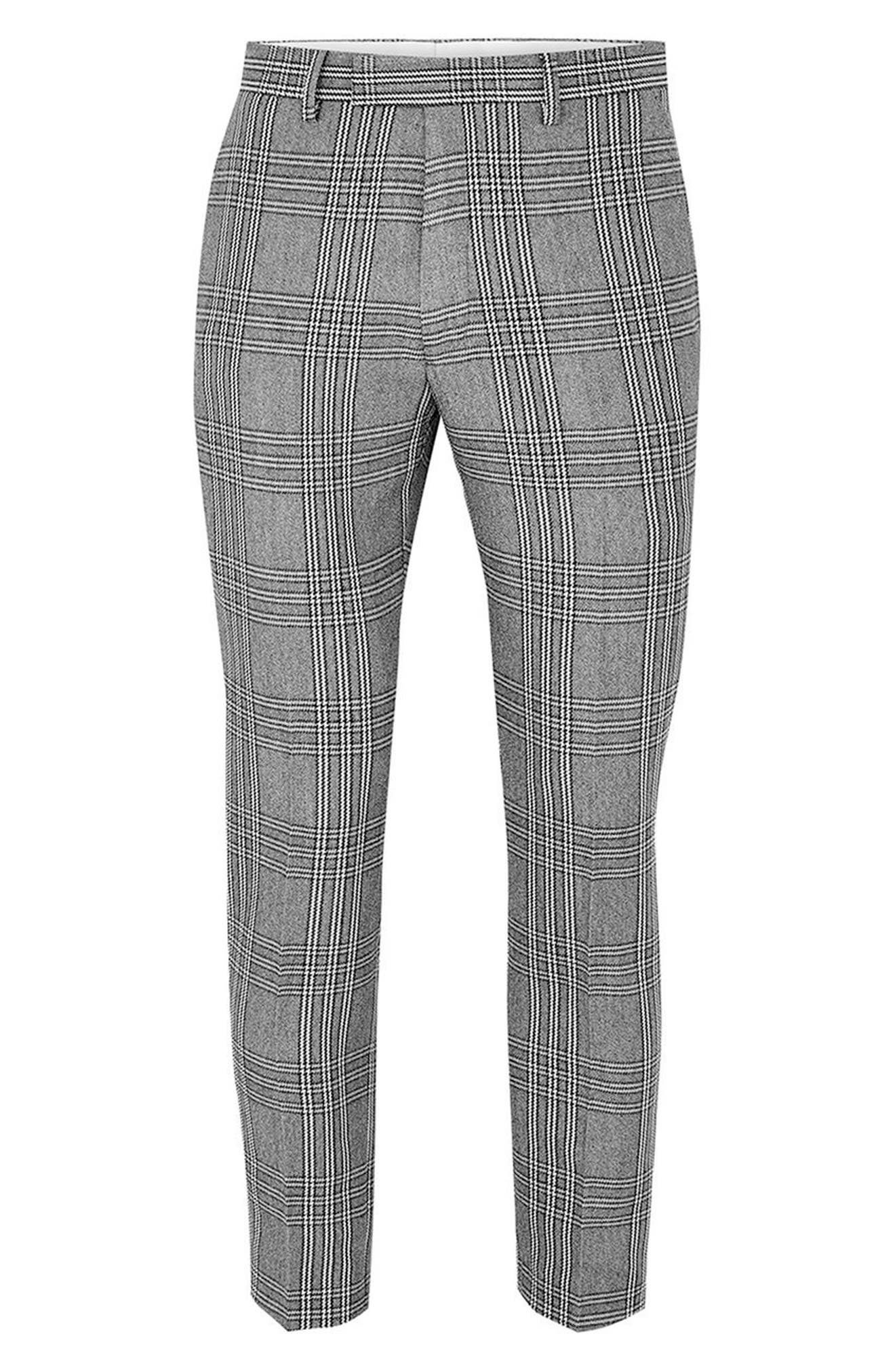 Skinny Fit Check Crop Trousers,                             Alternate thumbnail 4, color,                             Grey Multi