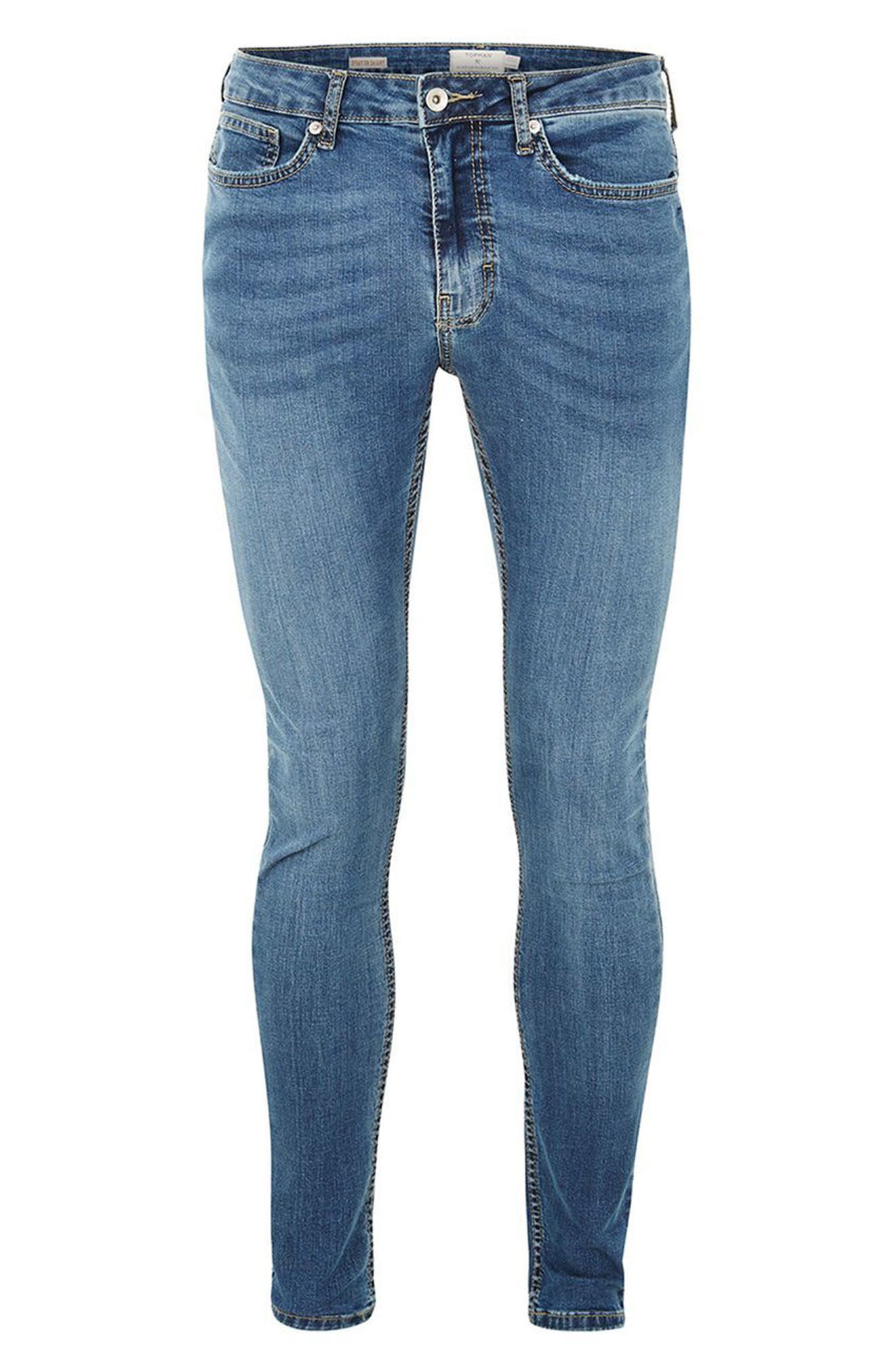 Skinny Fit Spray-On Jeans,                             Alternate thumbnail 4, color,                             Blue