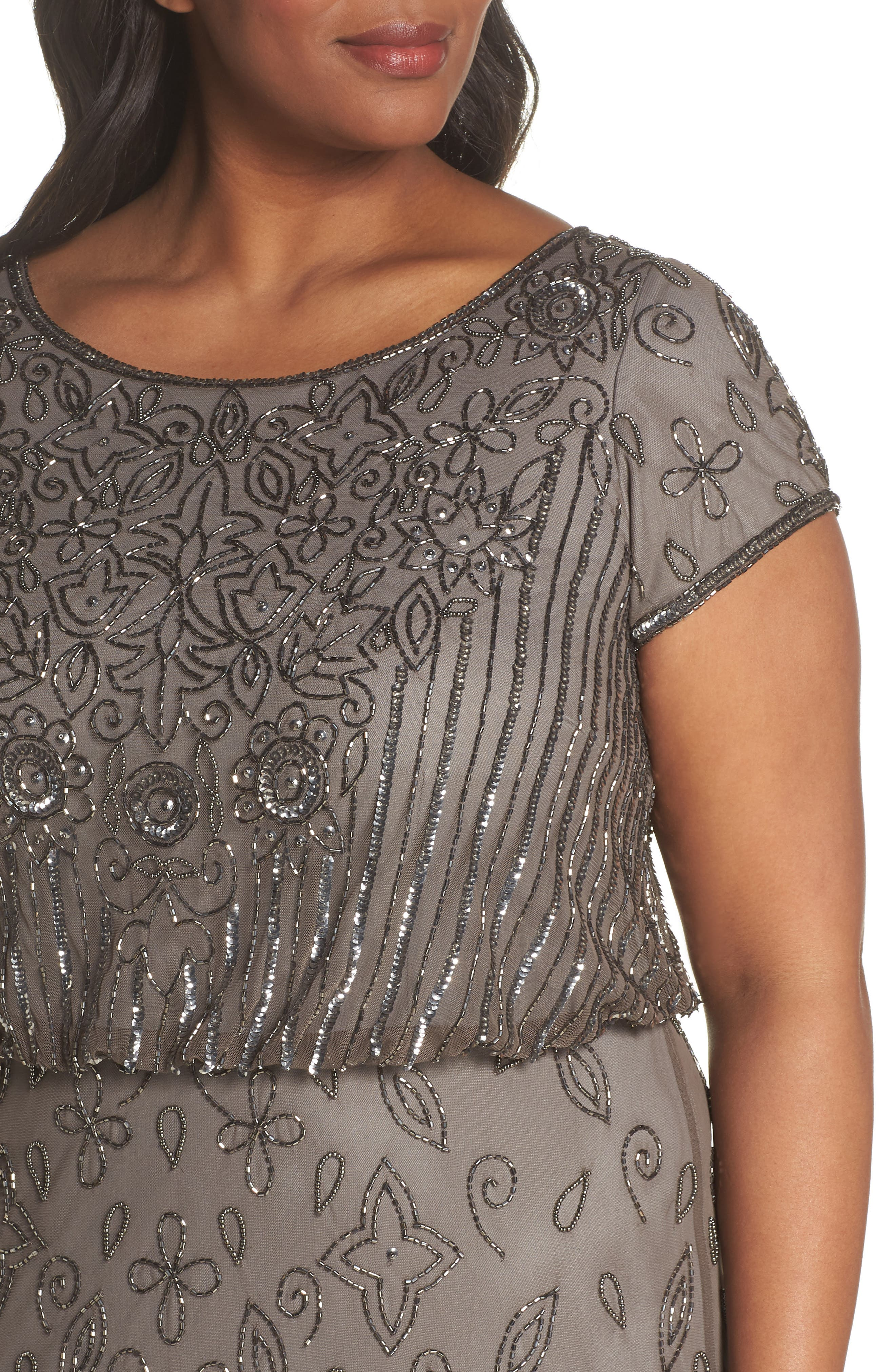Alternate Image 4  - Adrianna Papell Beaded Blouson Gown (Plus Size)