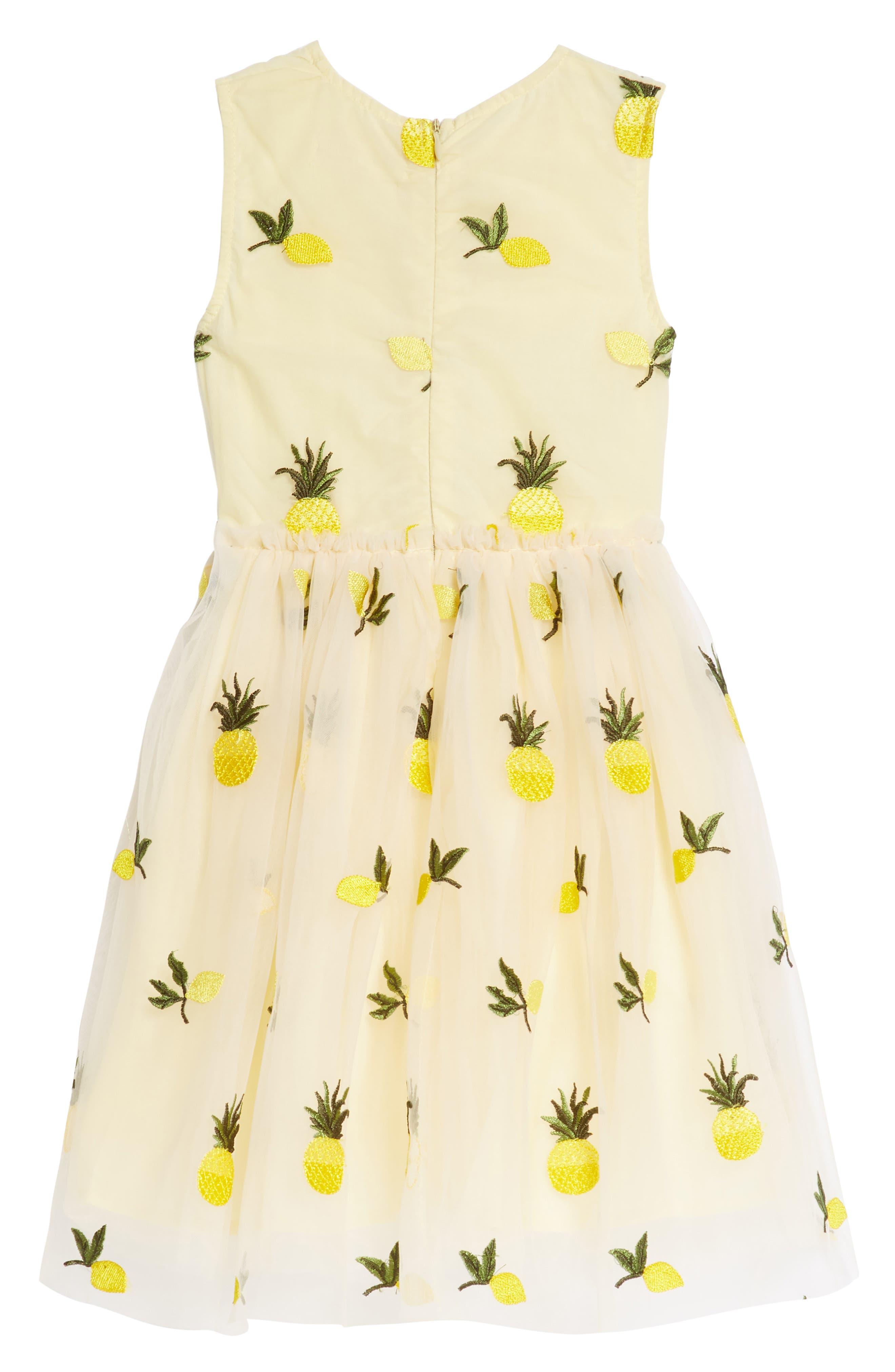 Pineapple & Lemon Embroidered Dress,                             Alternate thumbnail 2, color,                             Tan