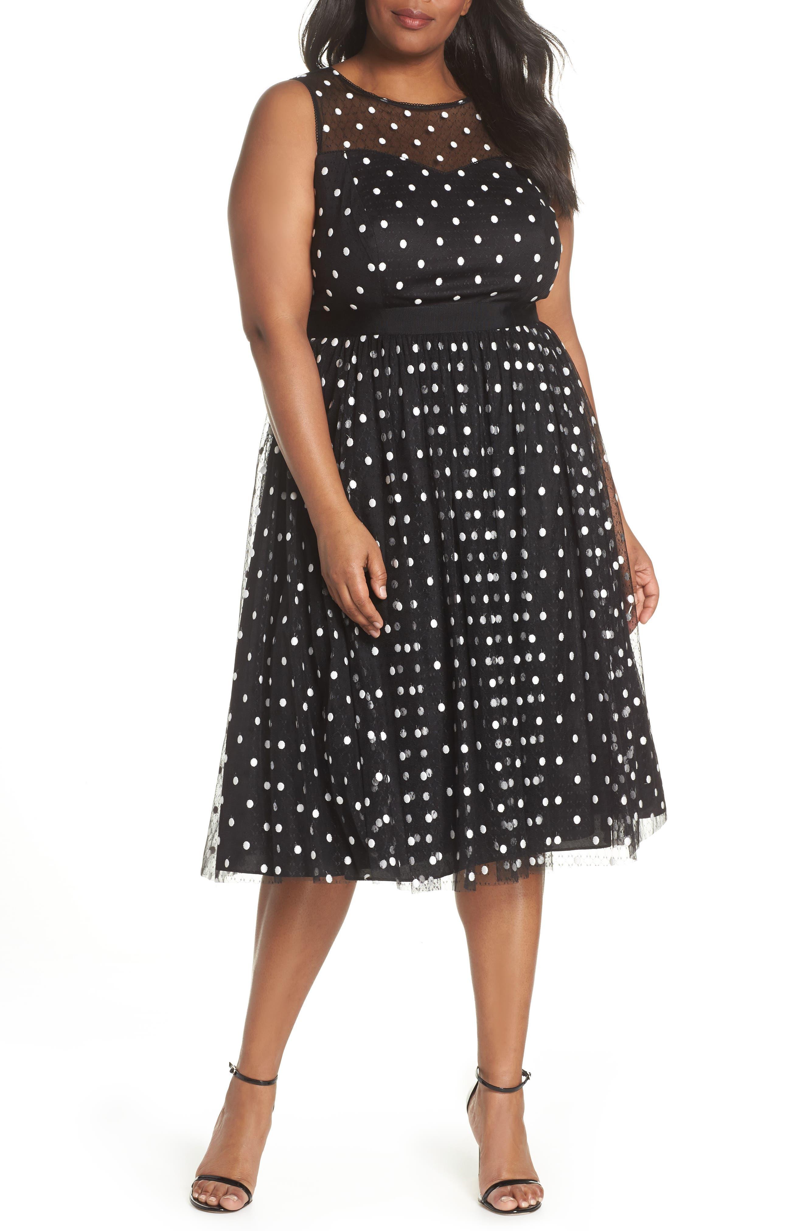 Illusion Fit & Flare Dress,                         Main,                         color, Black White