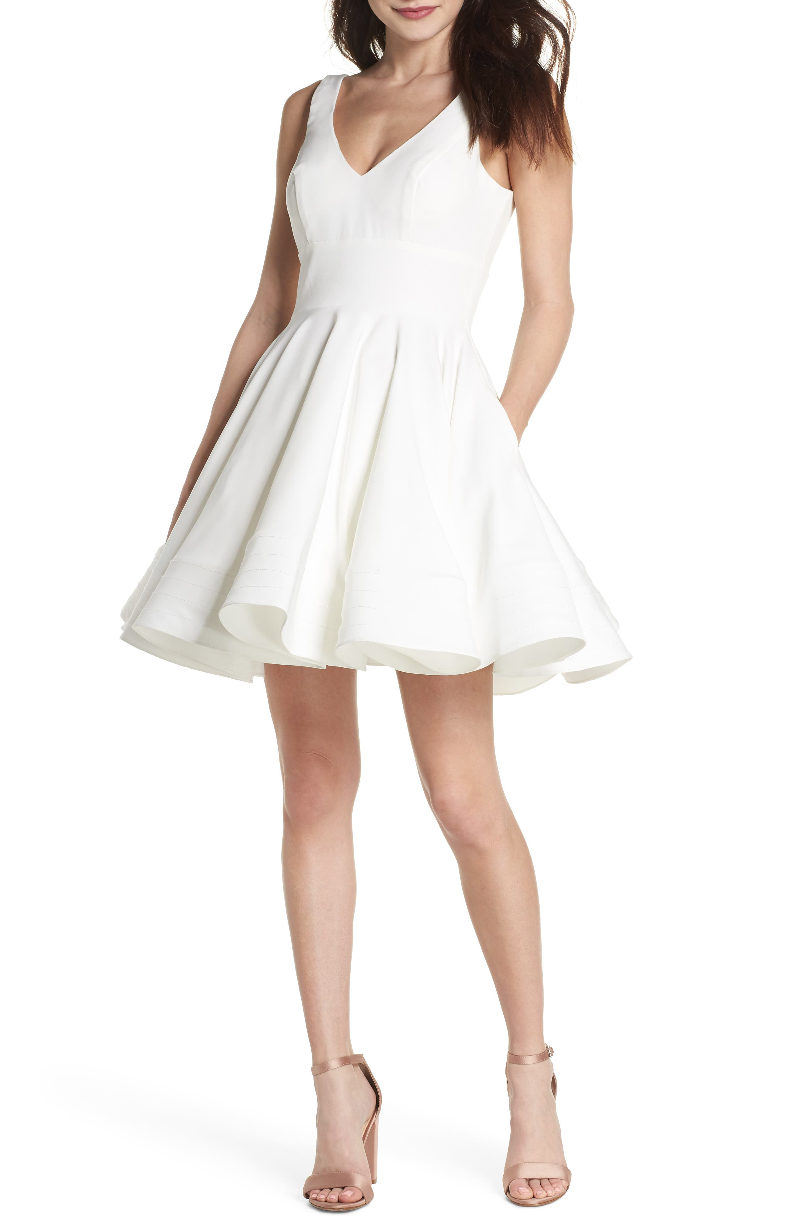 Double V-Neck Fit & Flare Party Dress,                         Main,                         color, Ivory