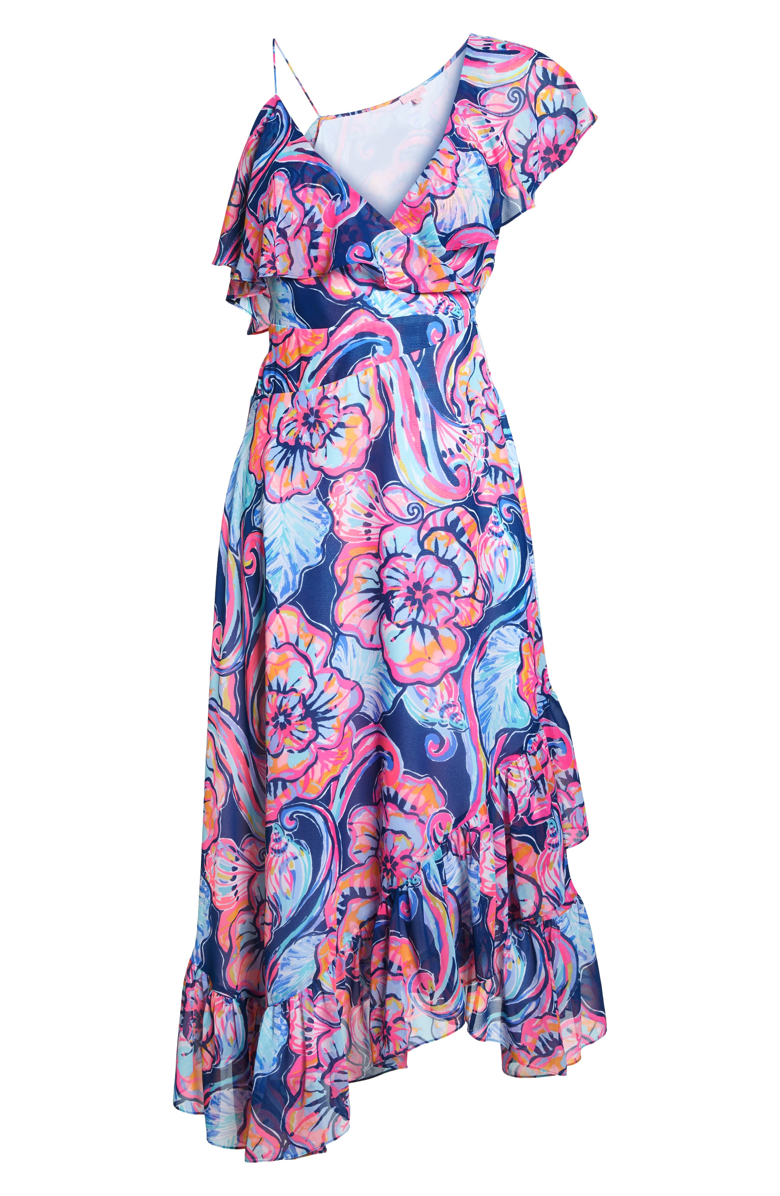 Marianna Asymmetric Midi Wrap Dress,                             Alternate thumbnail 6, color,                             Nautical Navy
