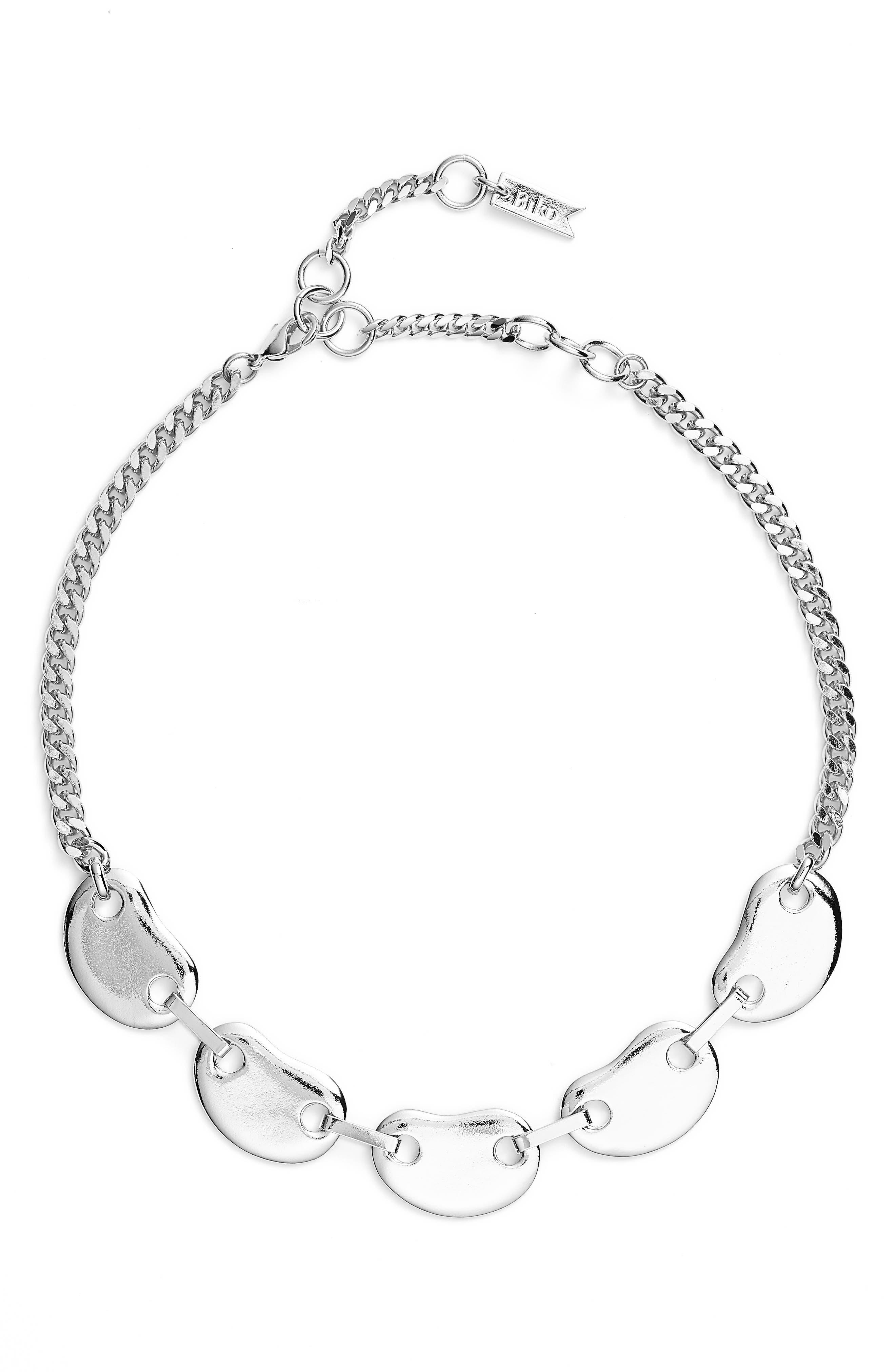 Amoeba Link Collar Necklace,                             Main thumbnail 1, color,                             Silver