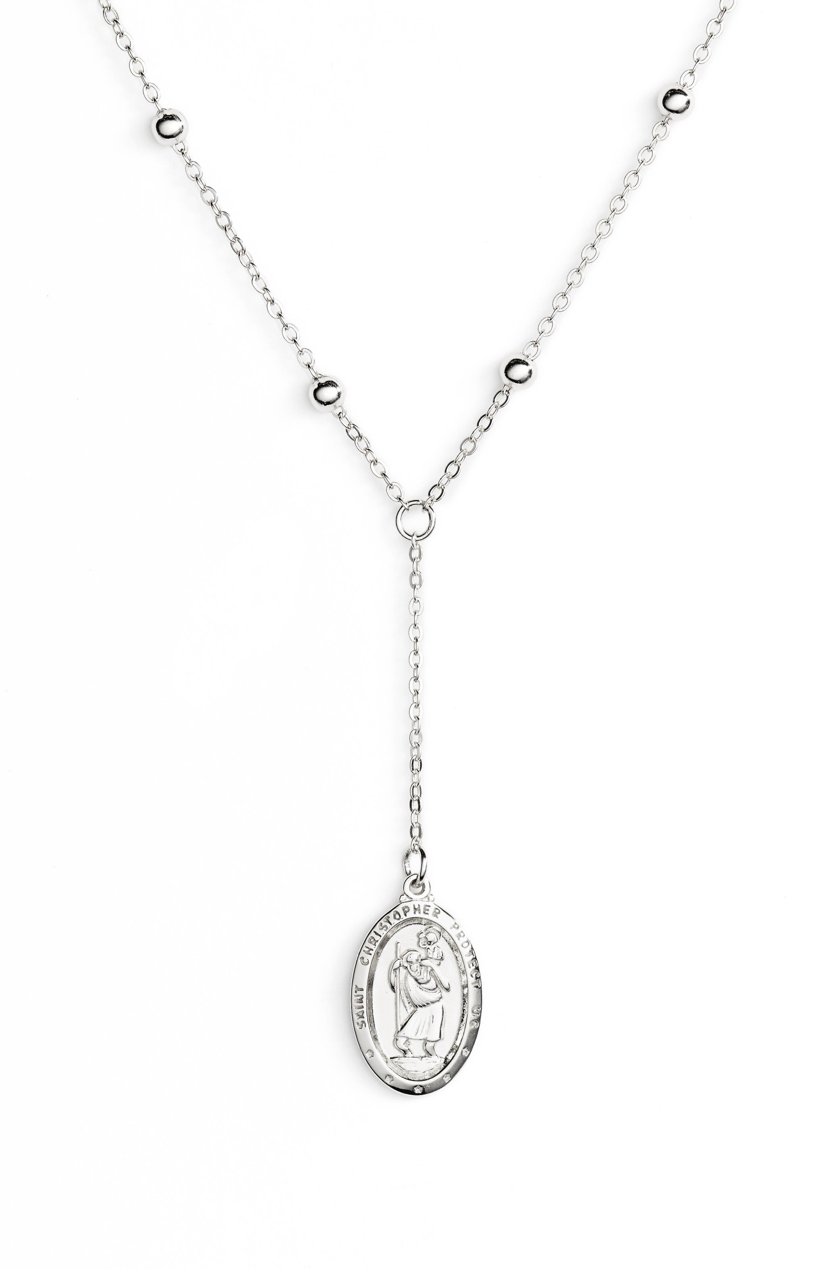 Saint Christopher Lariat Necklace,                             Main thumbnail 1, color,                             Silver