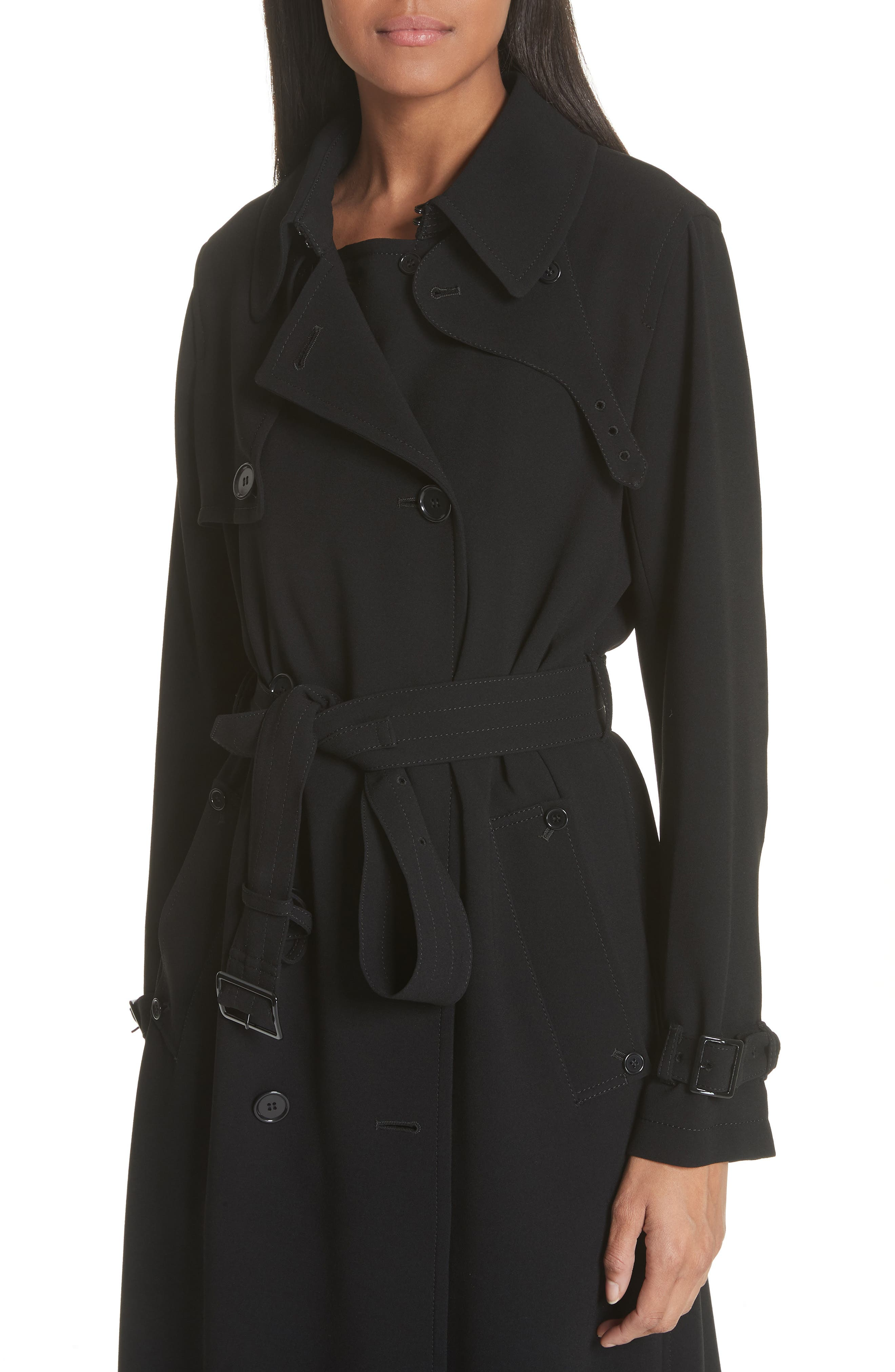 Double Breasted Coat,                             Alternate thumbnail 4, color,                             Black
