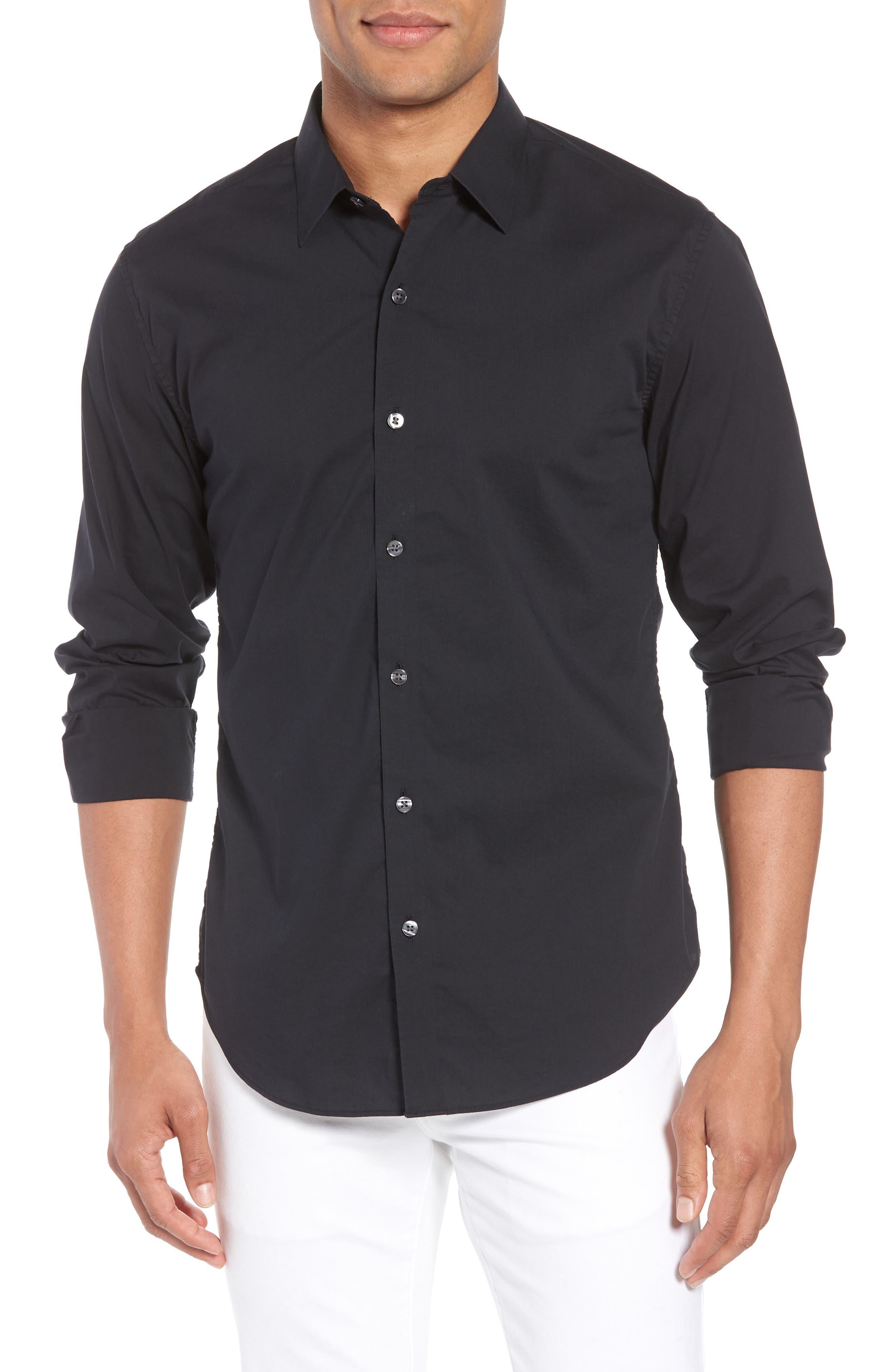 Unbutton Down 2.0 Slim Fit Sport Shirt,                             Main thumbnail 1, color,                             Black