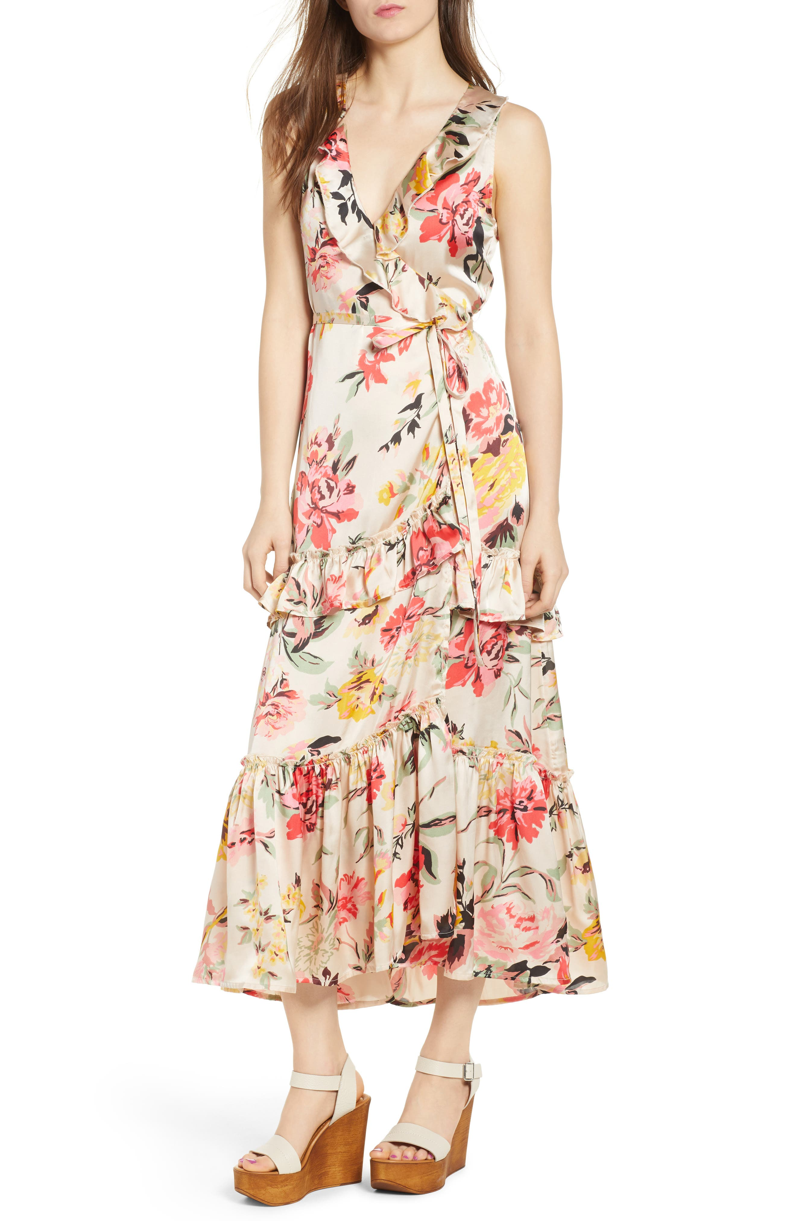 Ruffle Wrap Dress,                         Main,                         color, Multi