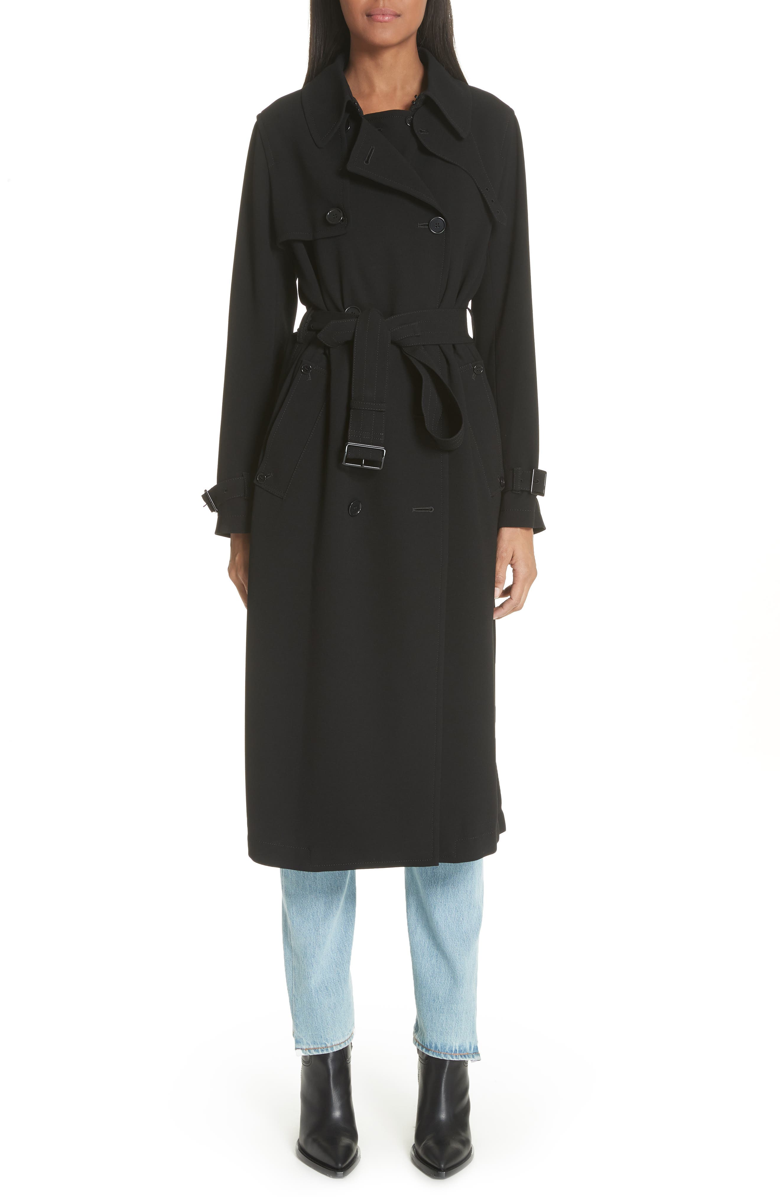 Double Breasted Coat,                             Main thumbnail 1, color,                             Black