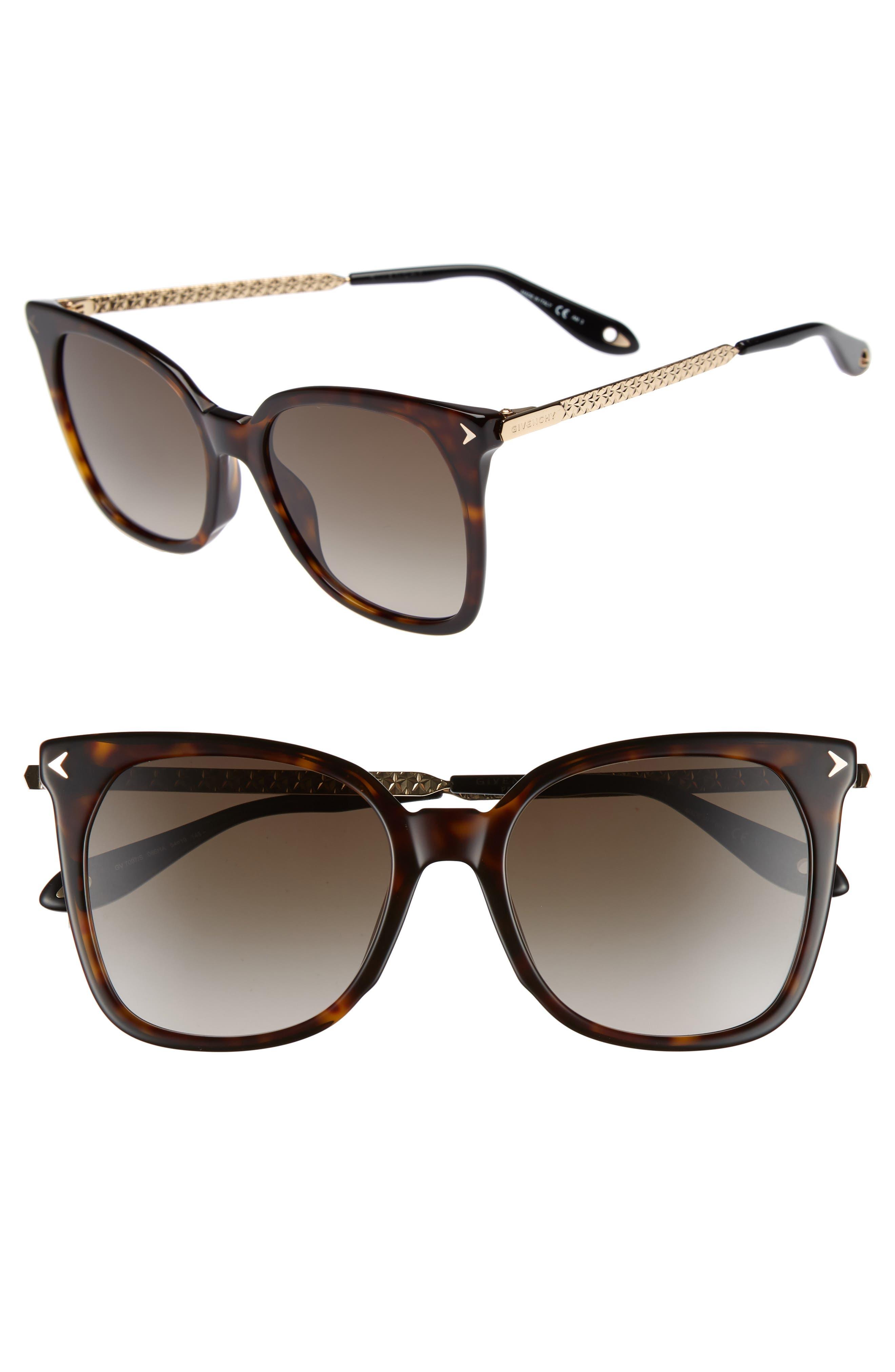 54mm Square Sunglasses,                             Main thumbnail 1, color,                             Dark Havana