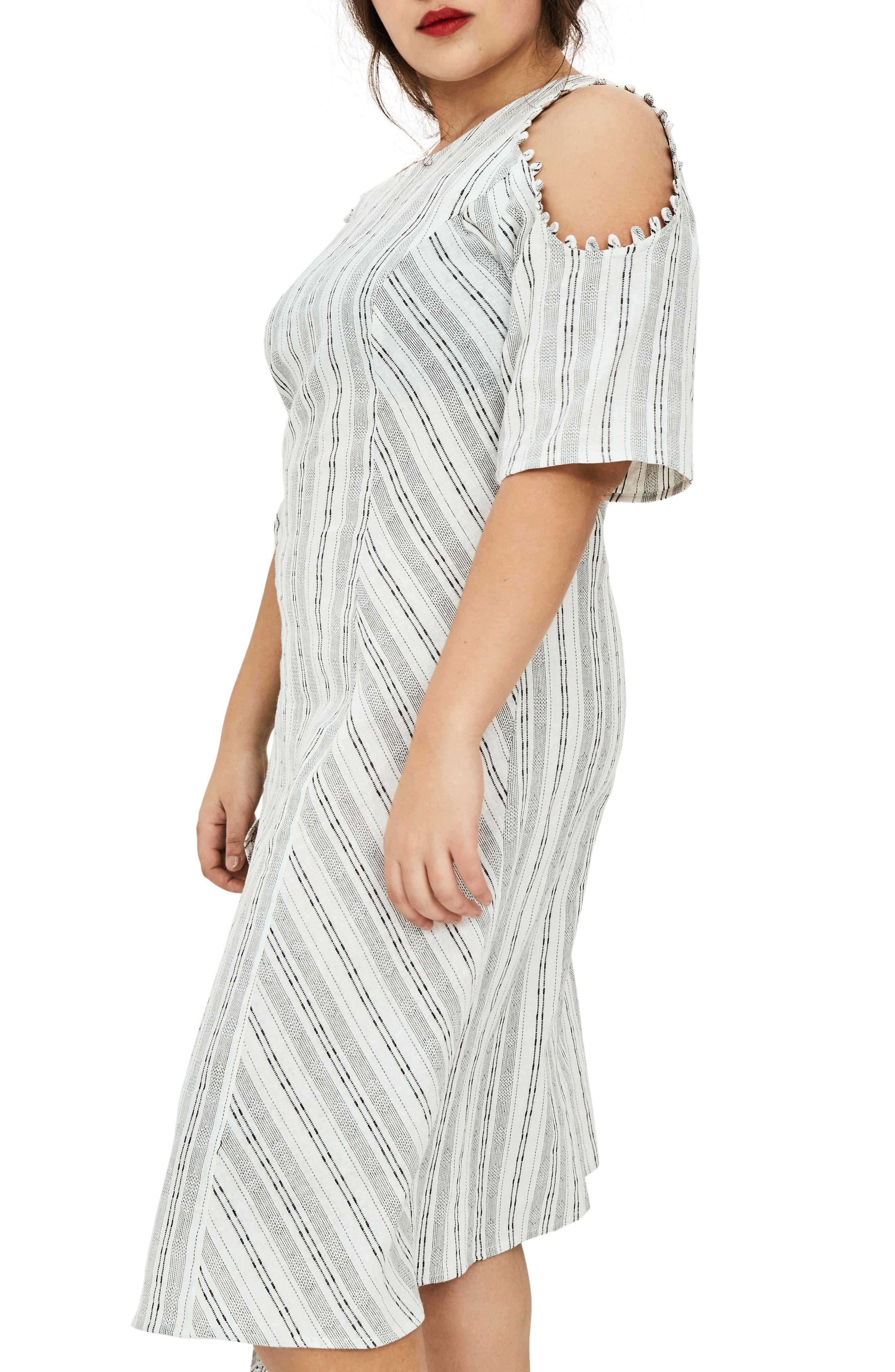 The Masago Stripe Cold Shoulder Dress,                             Alternate thumbnail 4, color,                             White