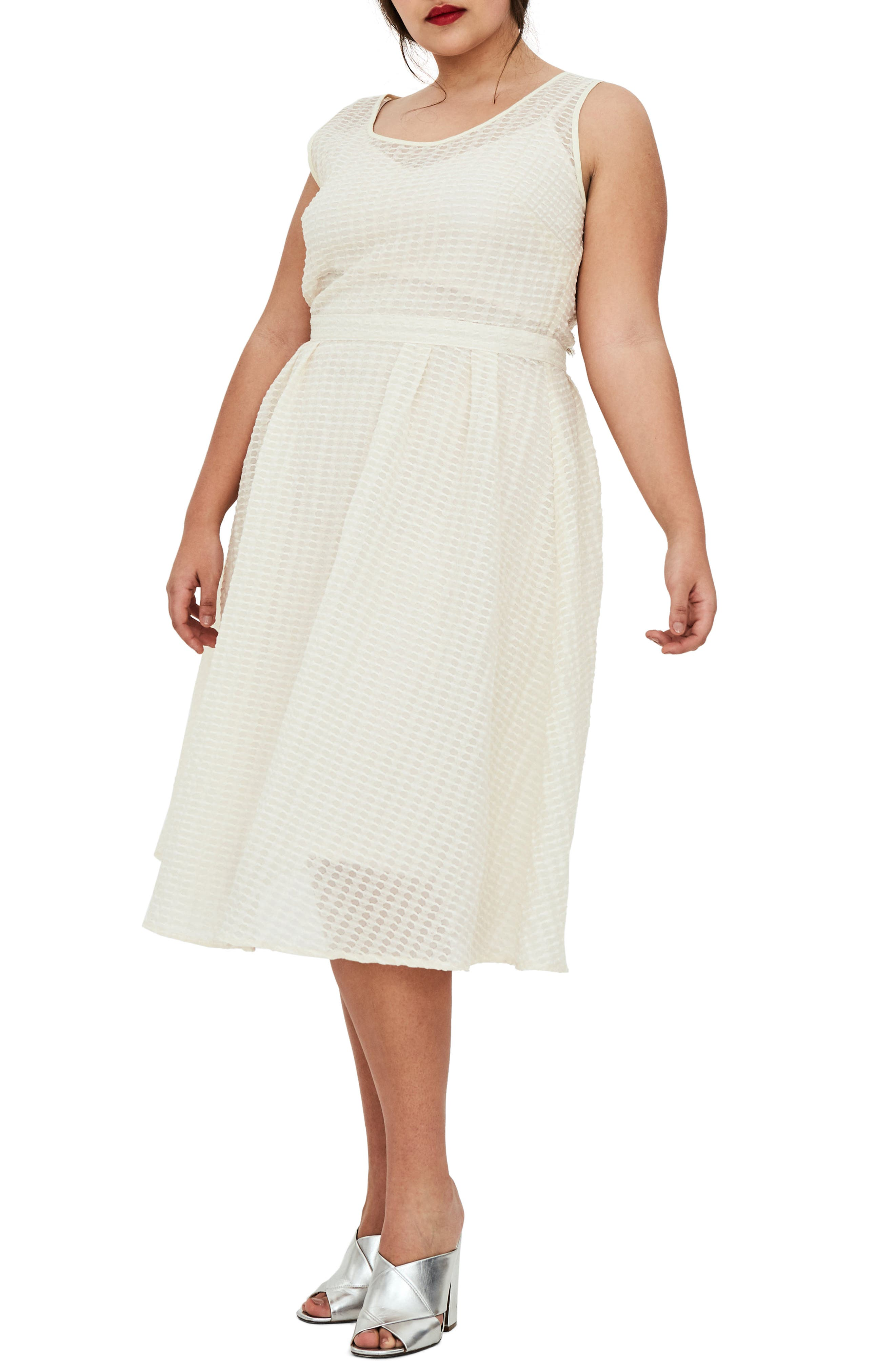 The Evelyn Textured Midi Dress,                             Main thumbnail 1, color,                             Cream