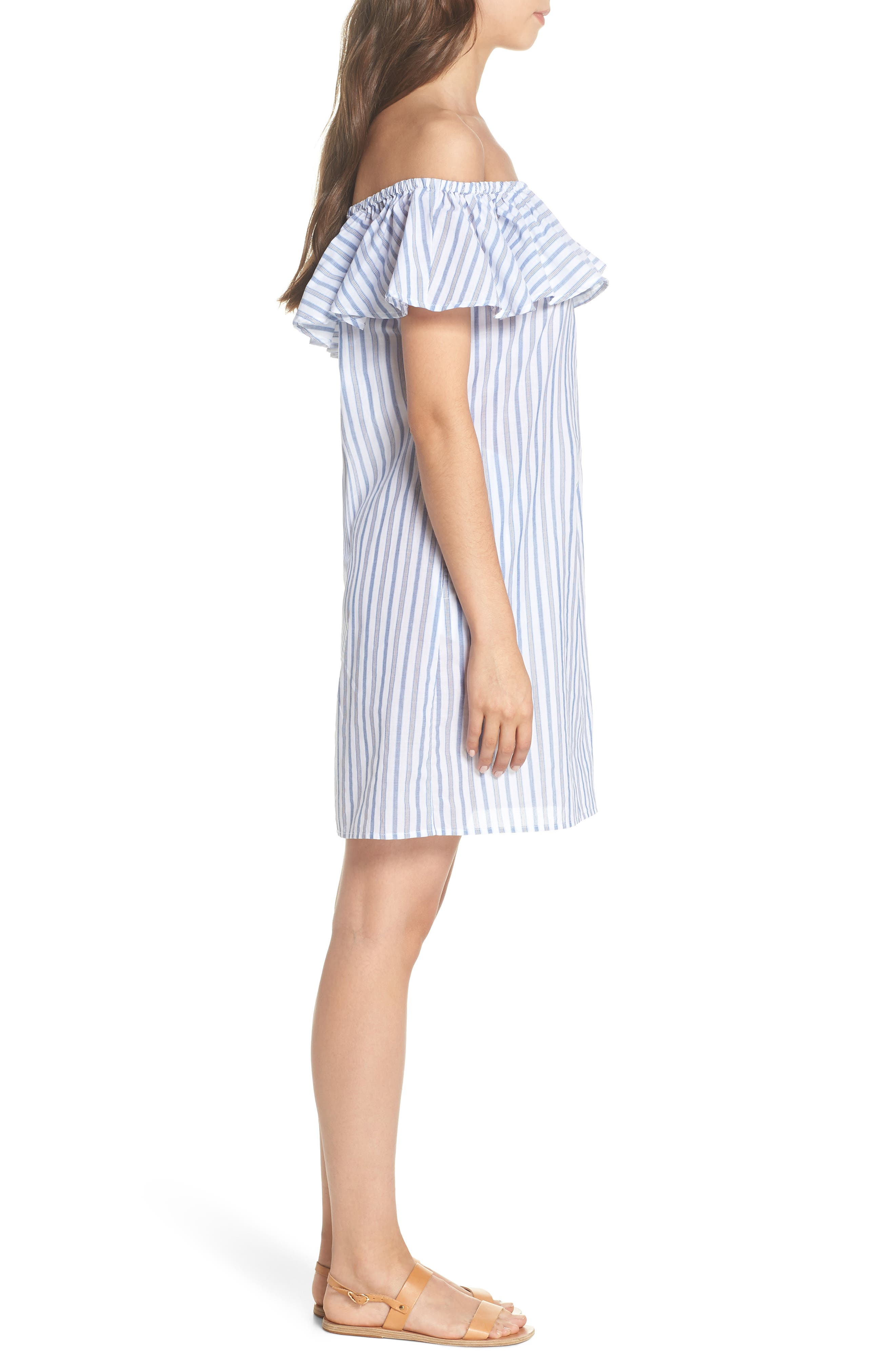Ticking Stripe Off the Shoulder Cover-Up Dress,                             Alternate thumbnail 3, color,                             White