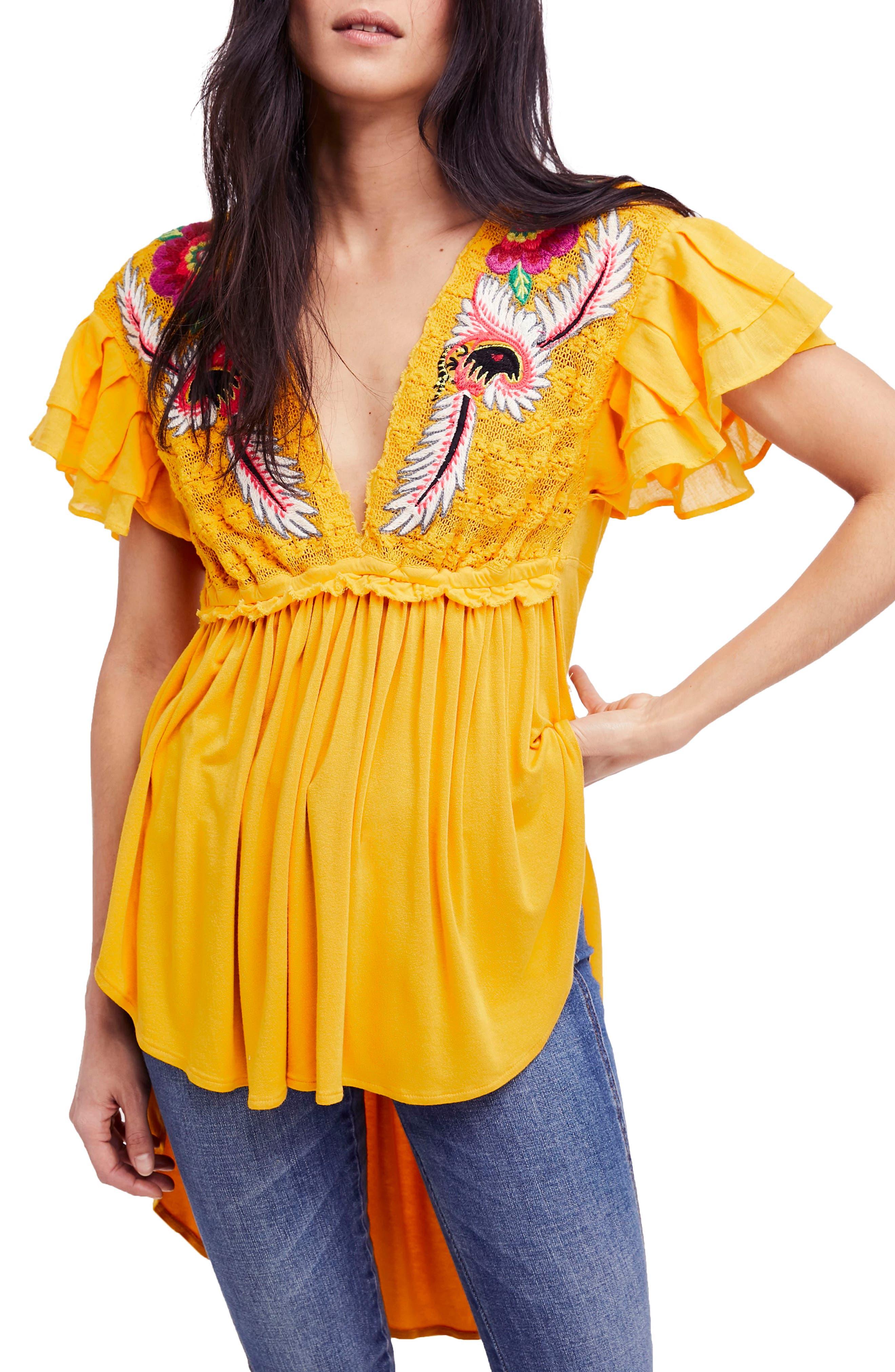 Fiesta Nueva Tunic,                         Main,                         color, Mustard