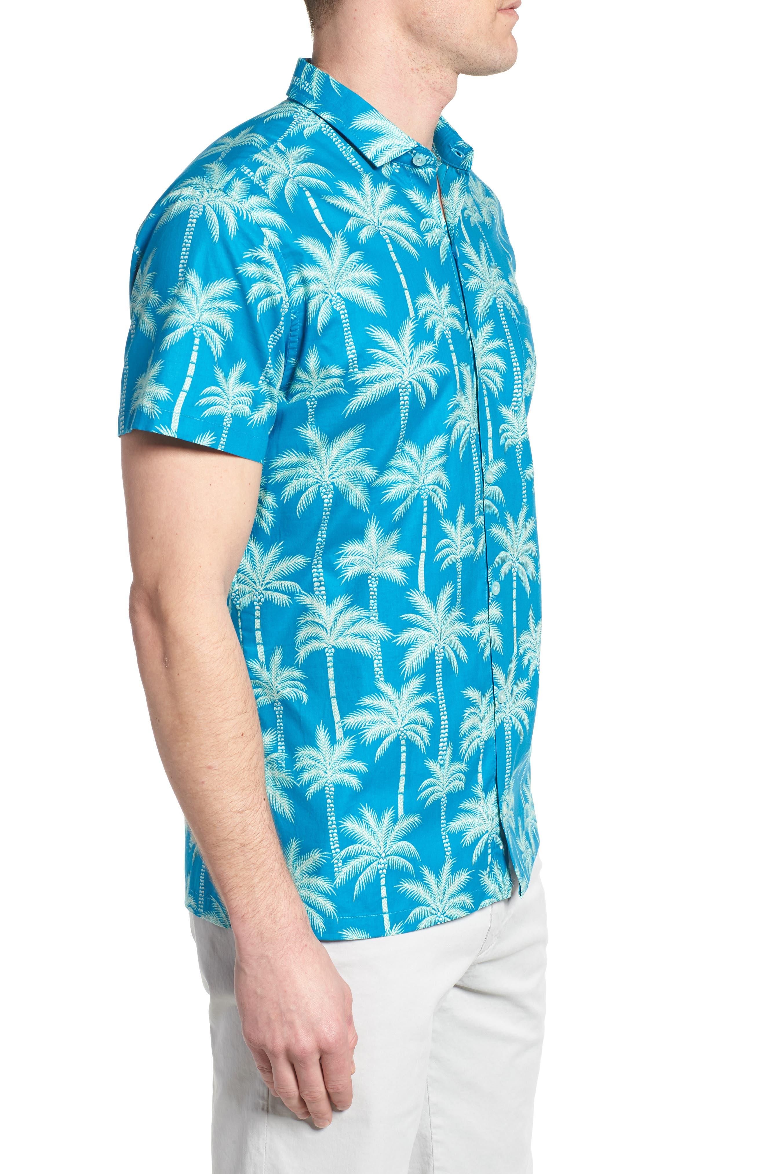 Erté Palm Camp Shirt,                             Alternate thumbnail 4, color,                             Wave
