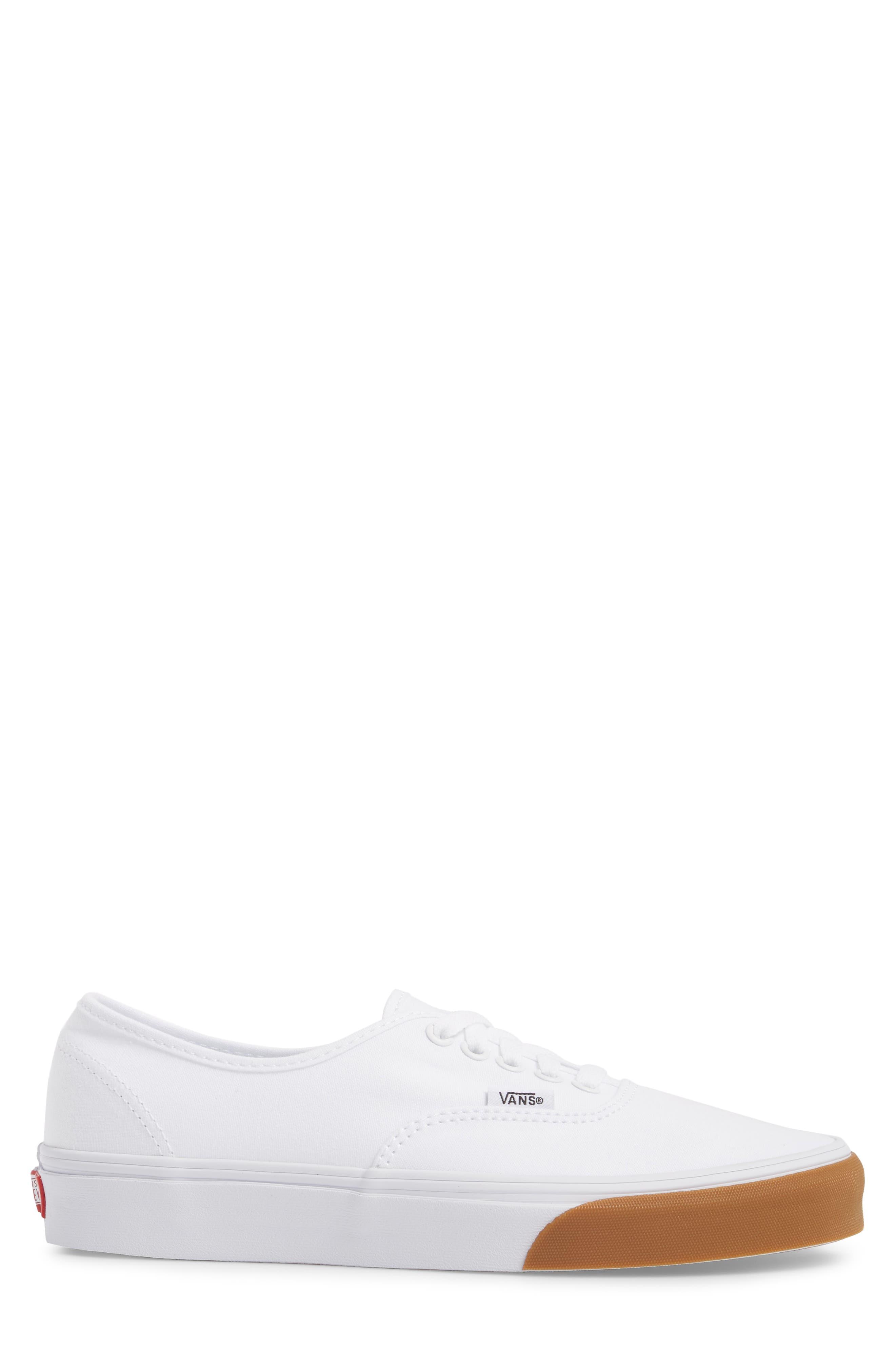 Authentic Gum Bumper Sneaker,                             Alternate thumbnail 3, color,                             True White/ True White