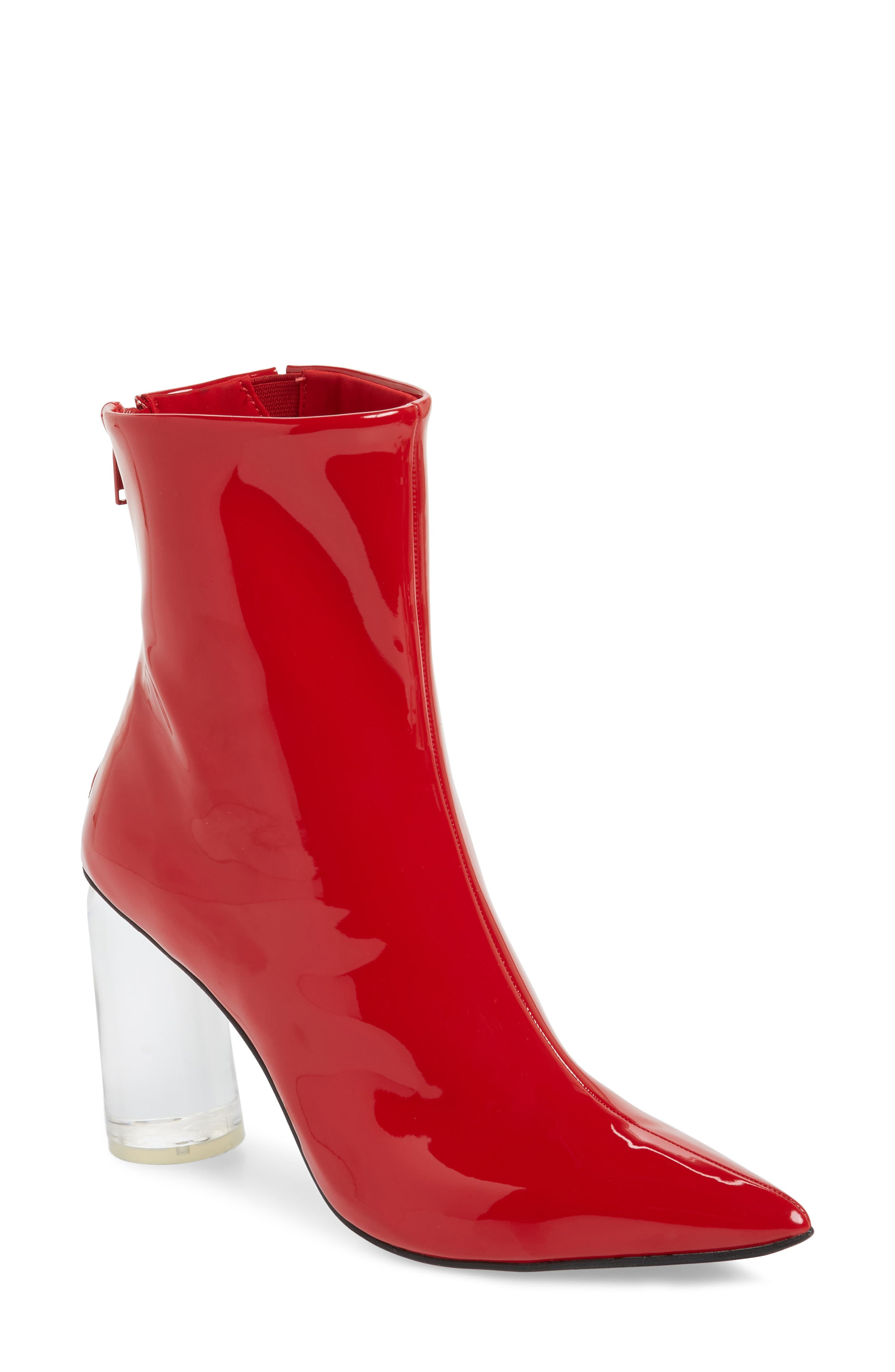 Lustrous Column Heel Bootie,                             Main thumbnail 1, color,                             Red Patent Leather/ Clear