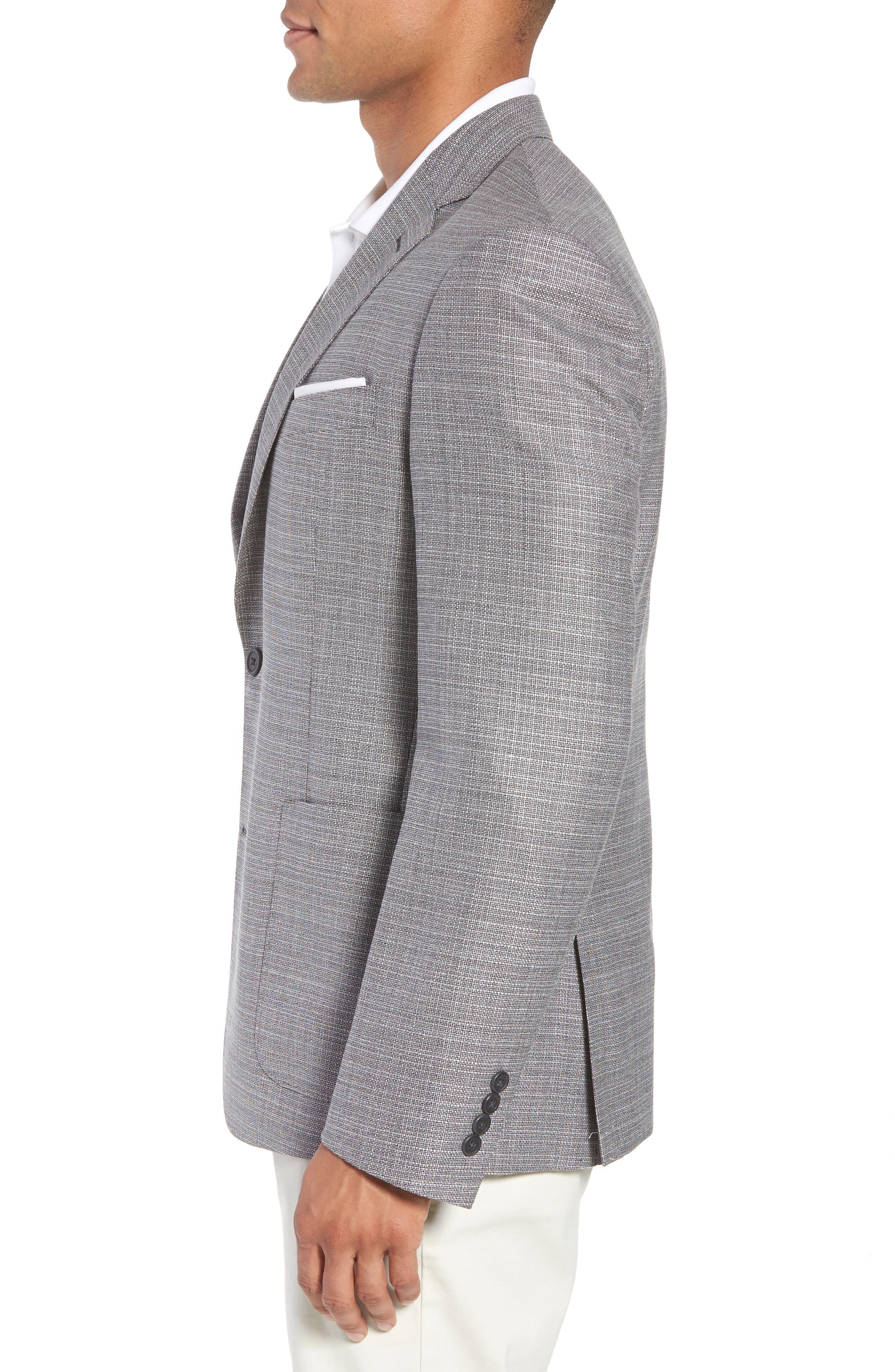 Trim Fit Wool Blazer,                             Alternate thumbnail 3, color,                             Silver