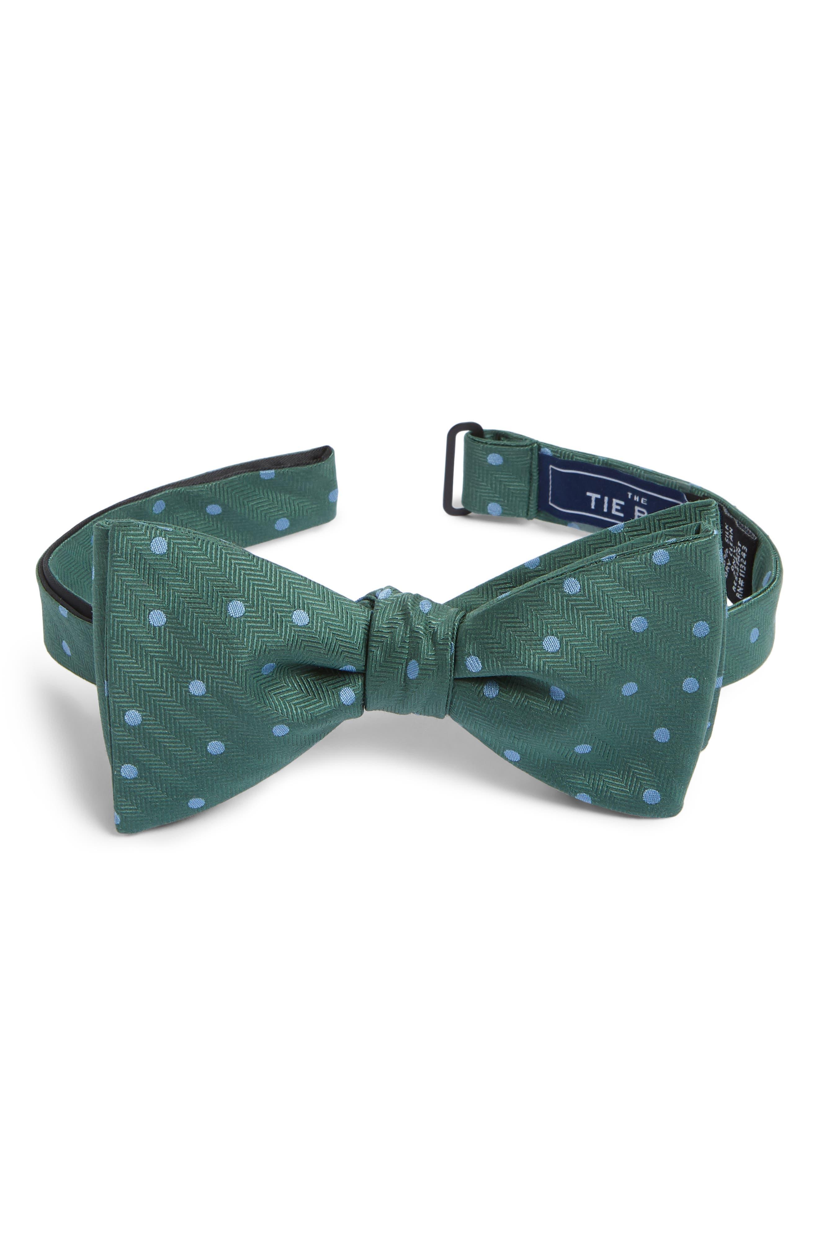 Jackson Dot Silk Bow Tie,                             Main thumbnail 1, color,                             Kelly Green