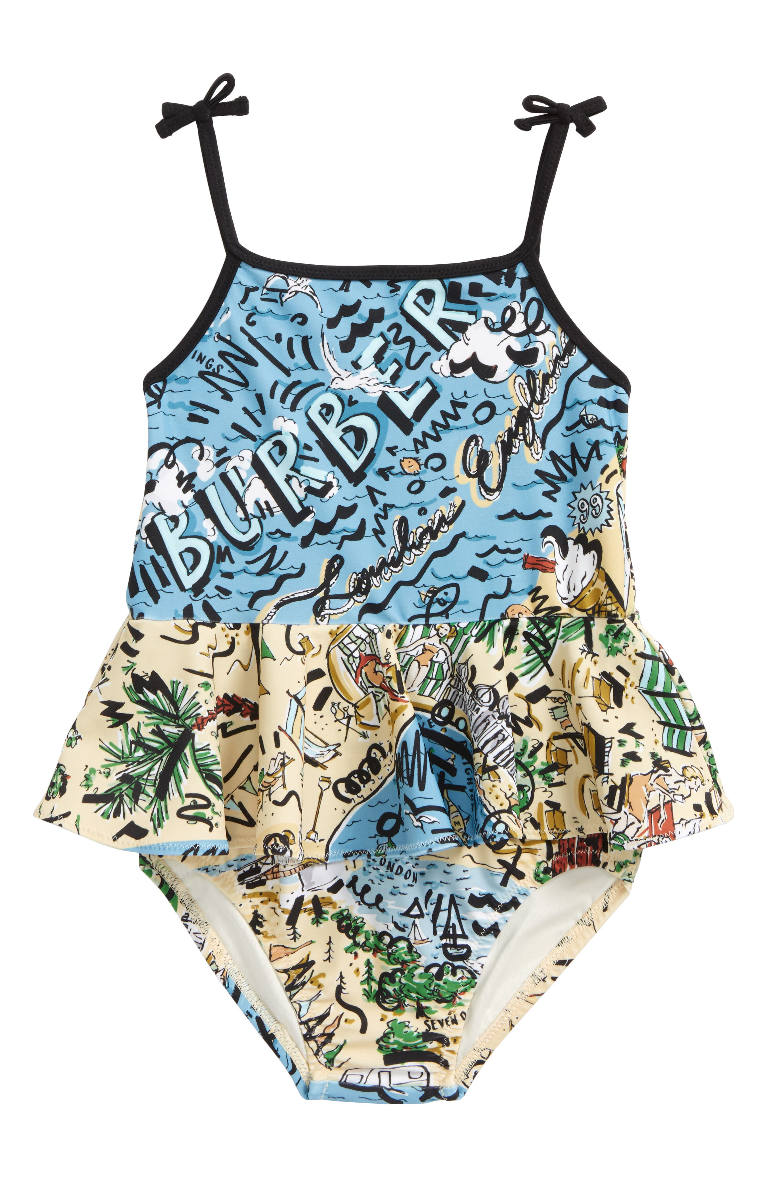 Luella Skirted One-Piece Swimsuit,                         Main,                         color, Honey