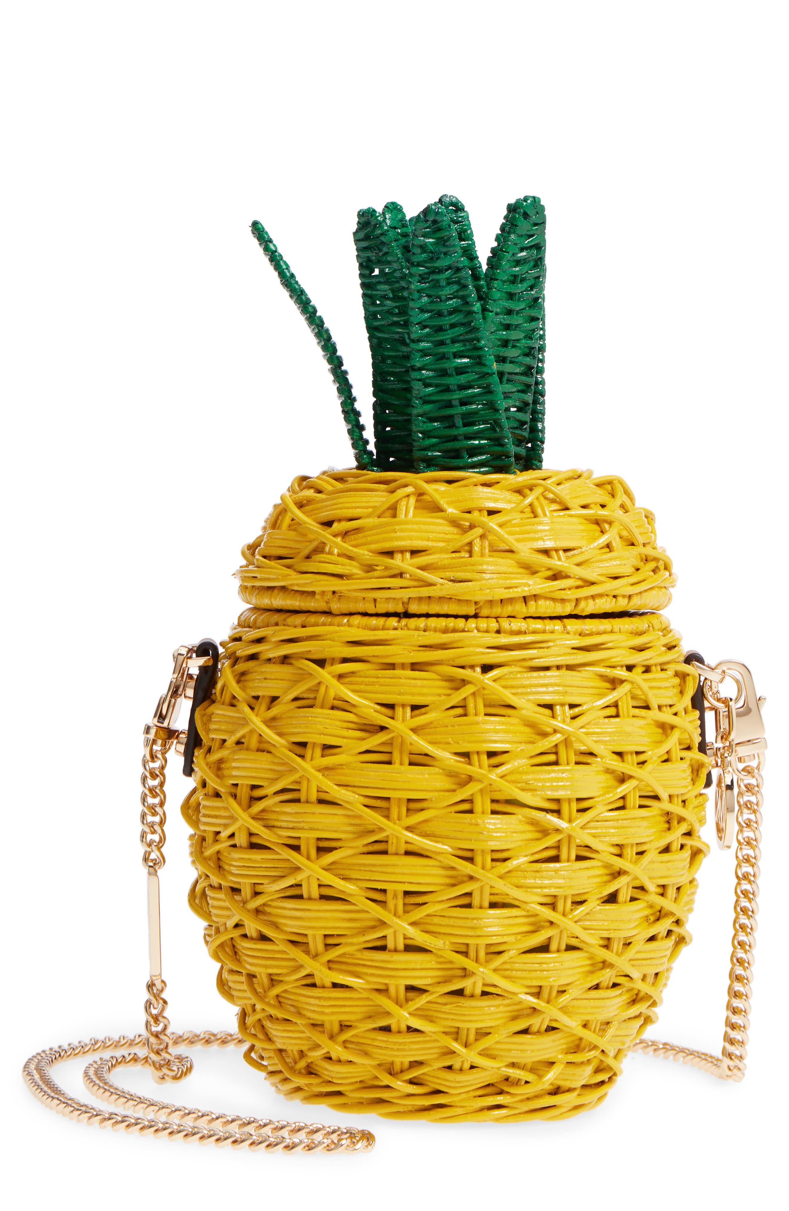 MICHAEL Michael Kors Wicker Pineapple Shoulder Bag,                             Main thumbnail 1, color,                             Sunflower