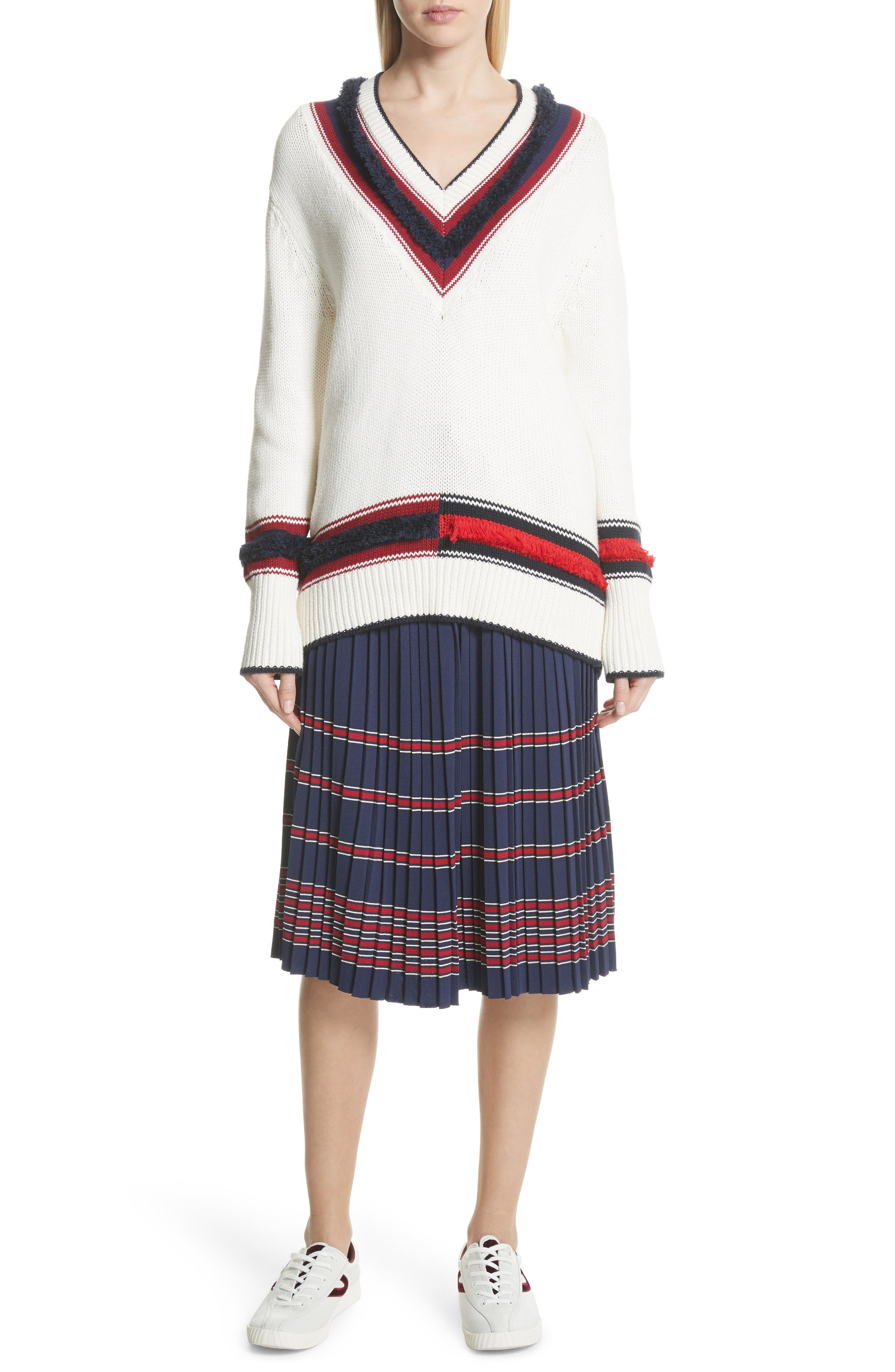 V-Neck Cotton & Cashmere Sweater,                             Alternate thumbnail 7, color,                             Ecru