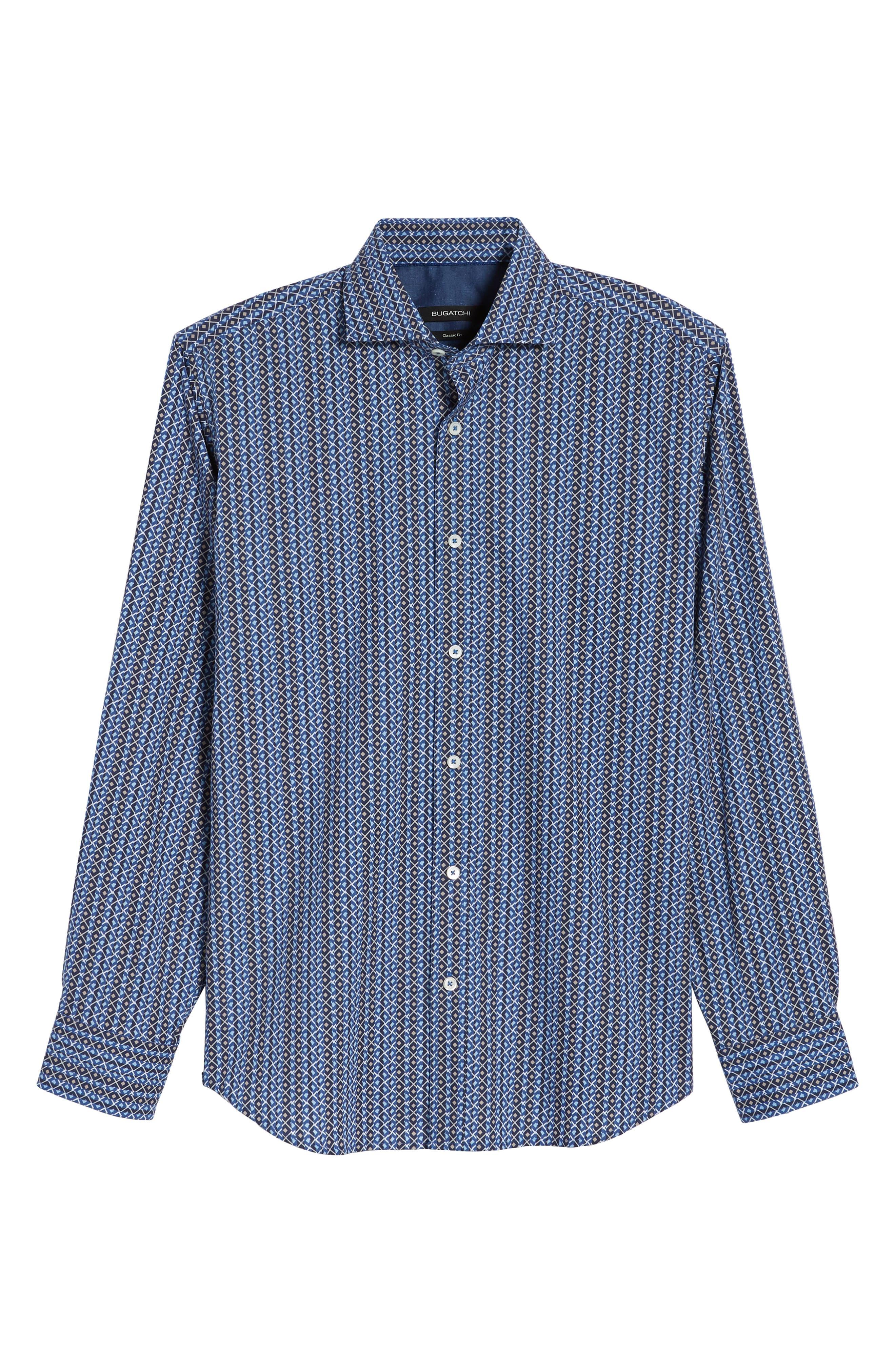 Classic Fit Print Sport Shirt,                             Alternate thumbnail 6, color,                             Classic Blue