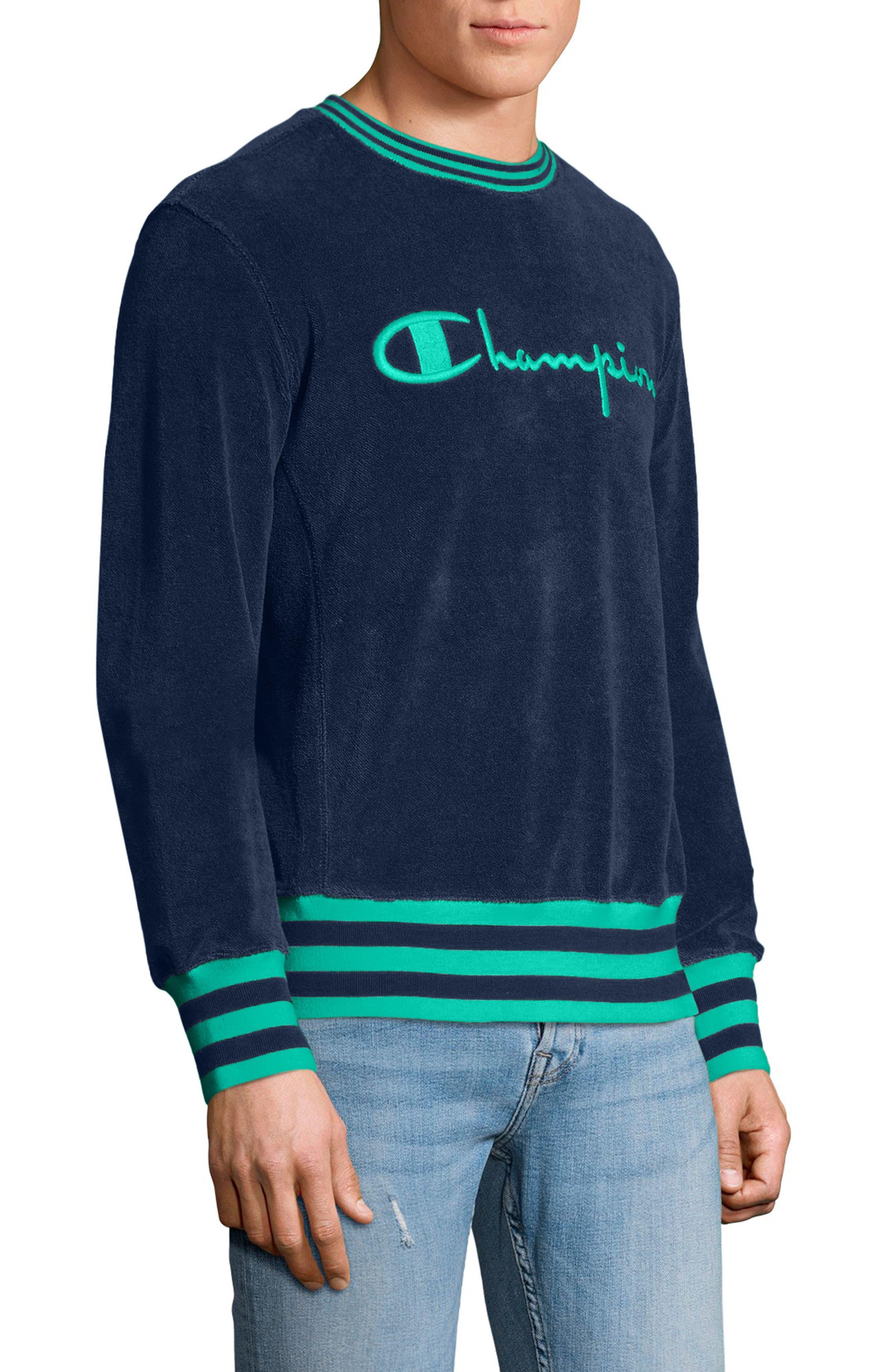 Sponge Terry Crewneck Sweatshirt,                             Alternate thumbnail 3, color,                             Navy