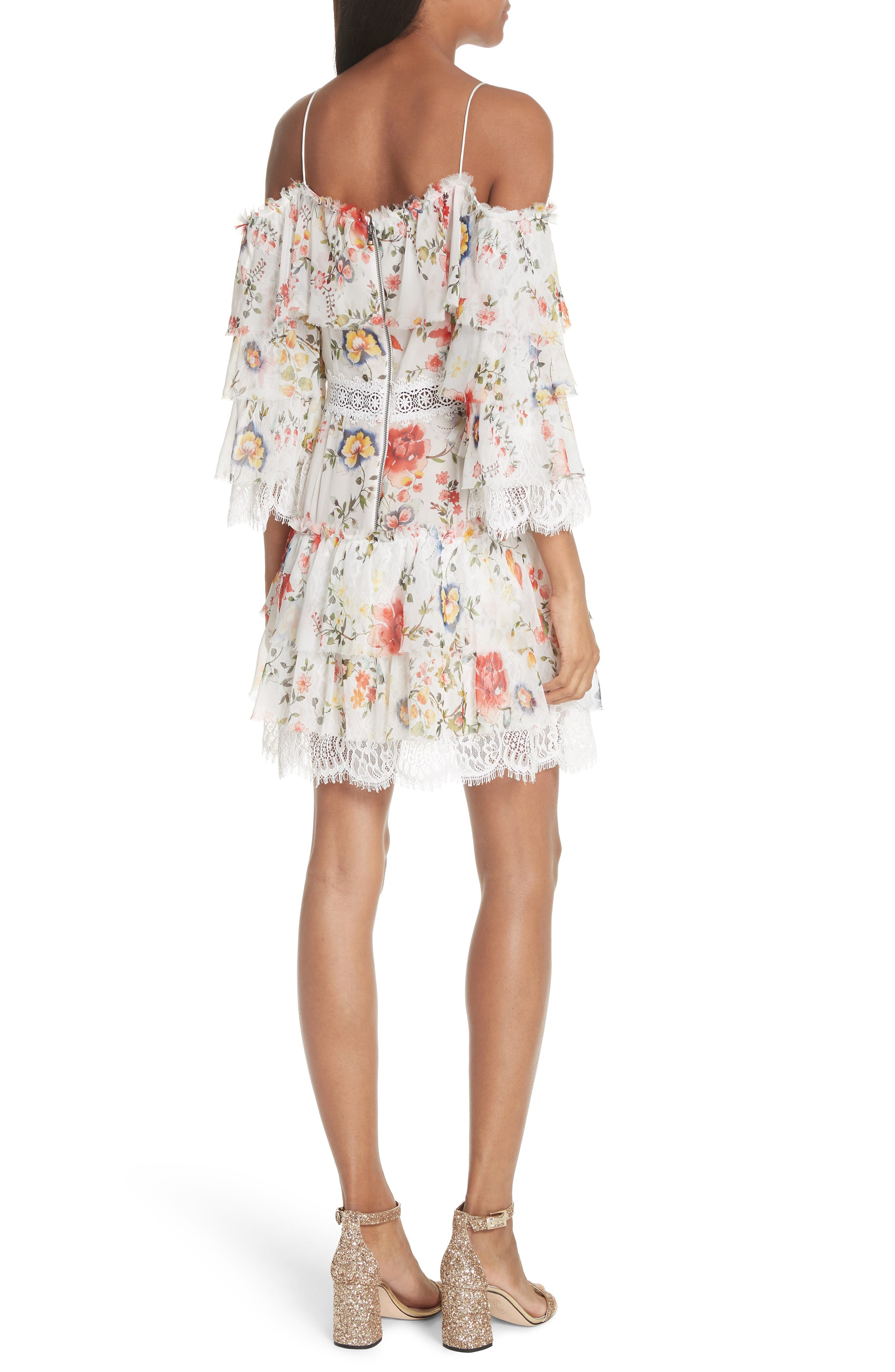 Santos Cold Shoulder Floral Silk Dress,                             Alternate thumbnail 2, color,                             Floral Soiree
