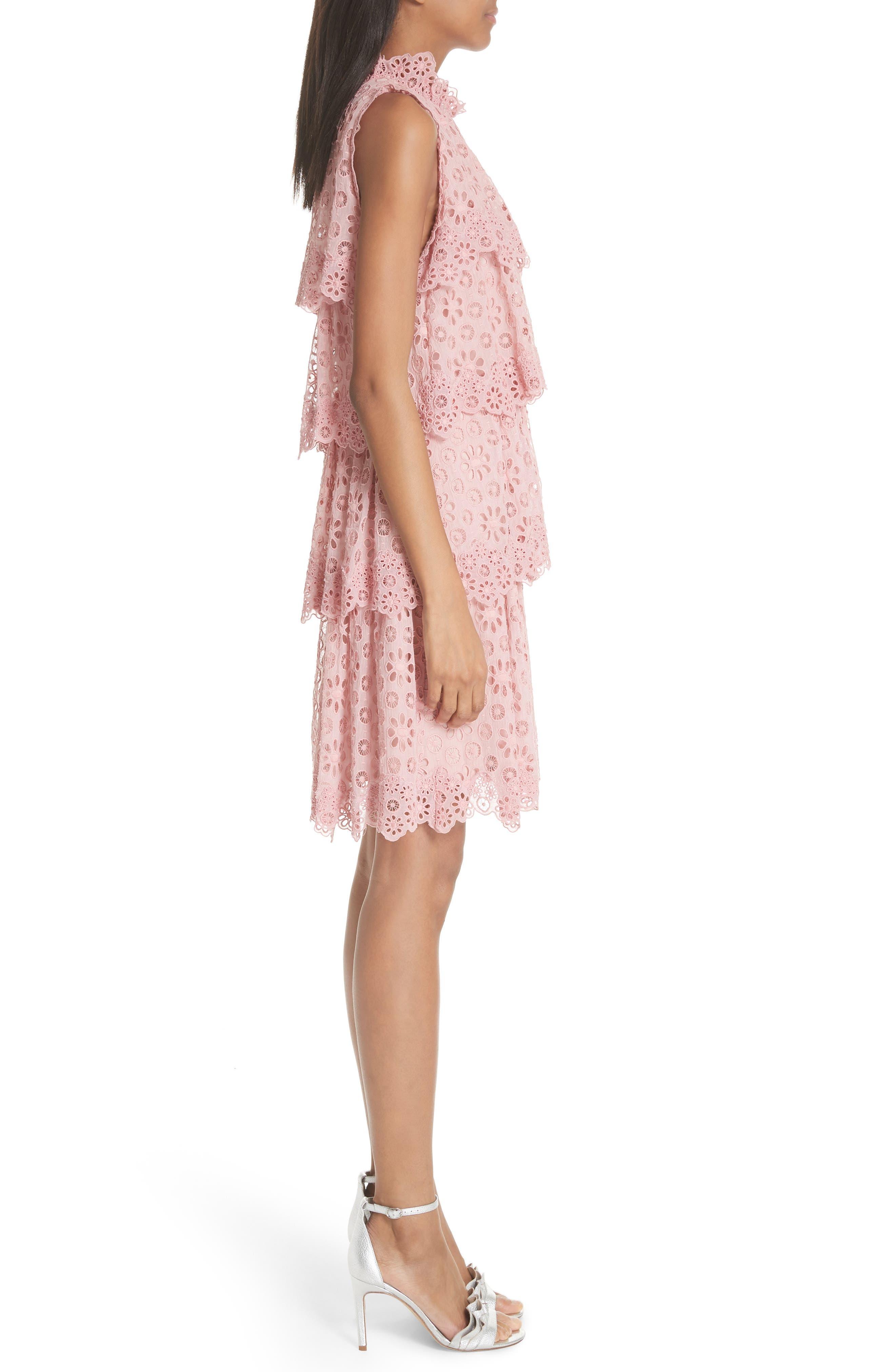 Sleeveless Pinwheel Dress,                             Alternate thumbnail 3, color,                             Peony