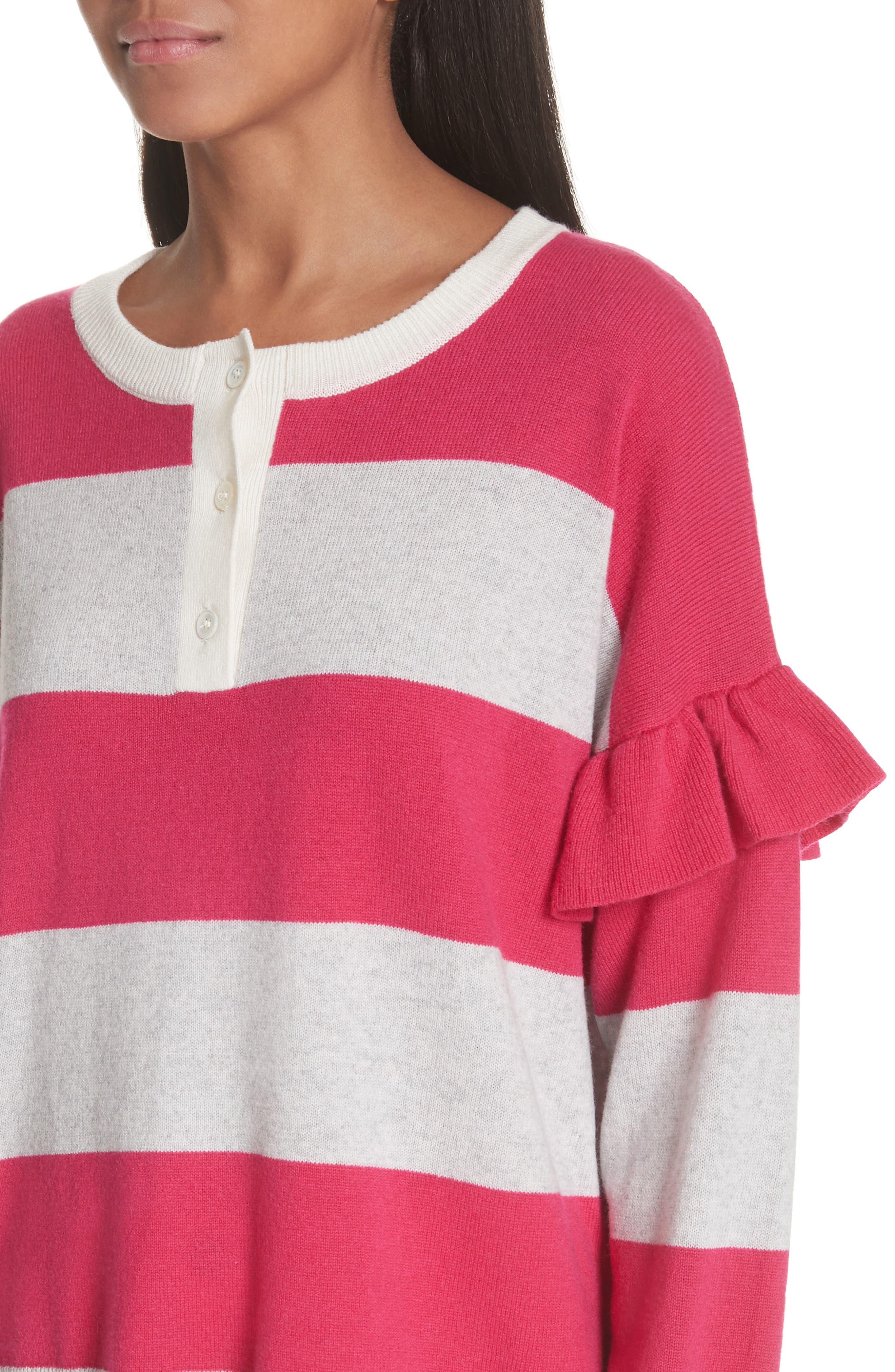 Inghin Stripe Wool & Cashmere Sweater,                             Alternate thumbnail 4, color,                             Hacienda/ Heather Grey