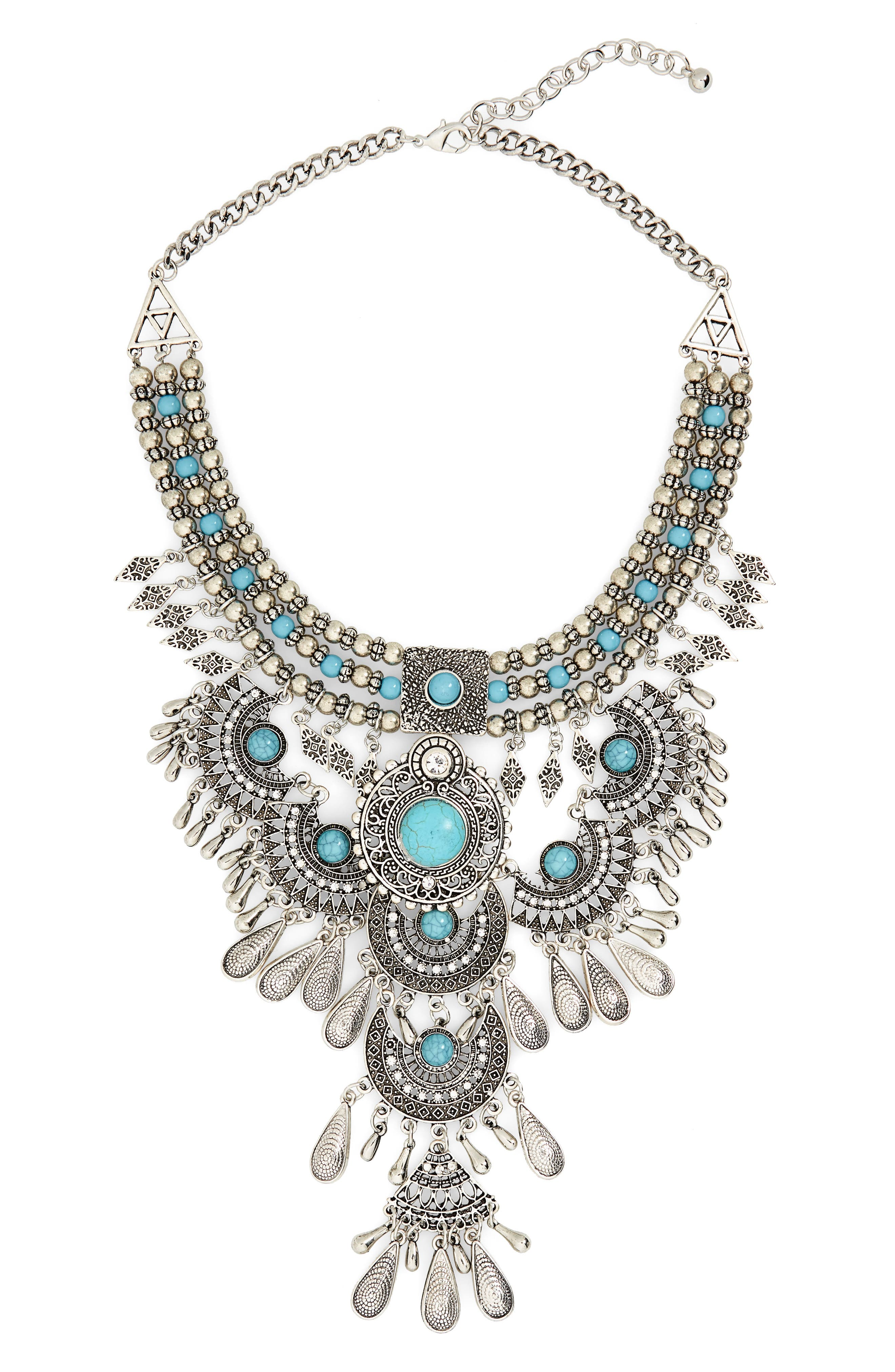 Western Bib Necklace,                         Main,                         color, Silver/ Turquoise