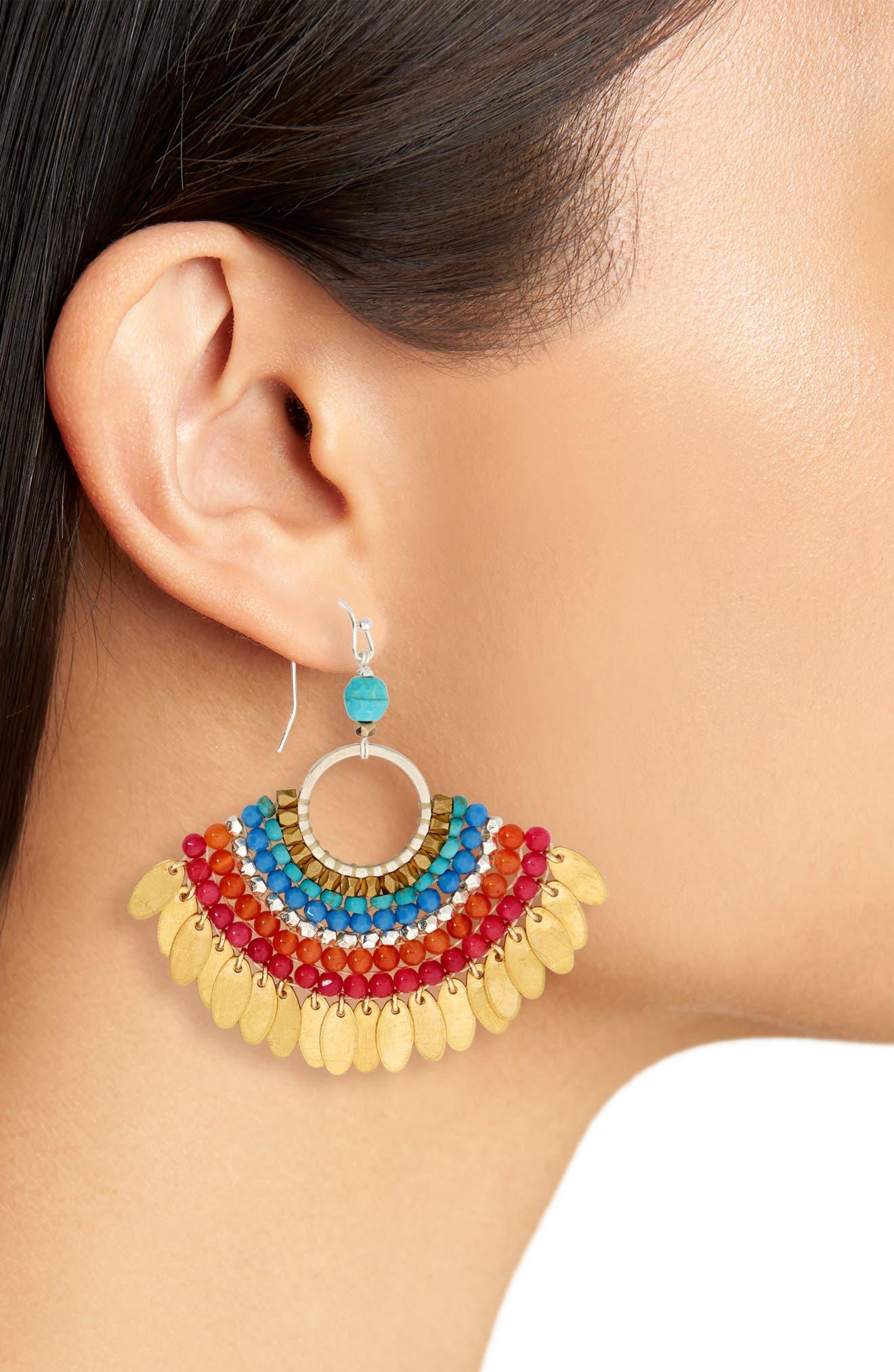 Fan Earrings,                             Alternate thumbnail 2, color,                             Multi