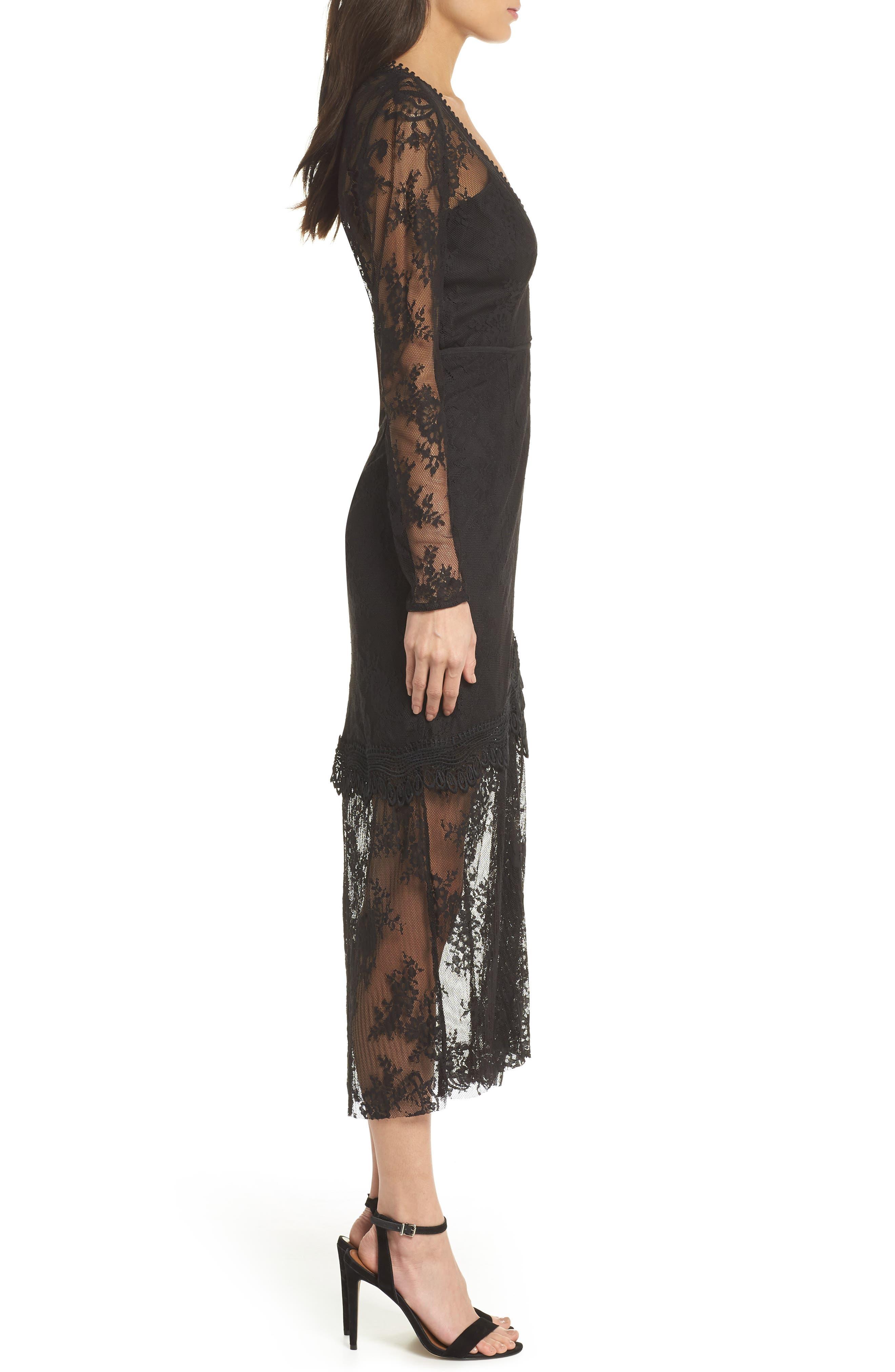 True Chemistry Lace Sheath Dress,                             Alternate thumbnail 3, color,                             Black