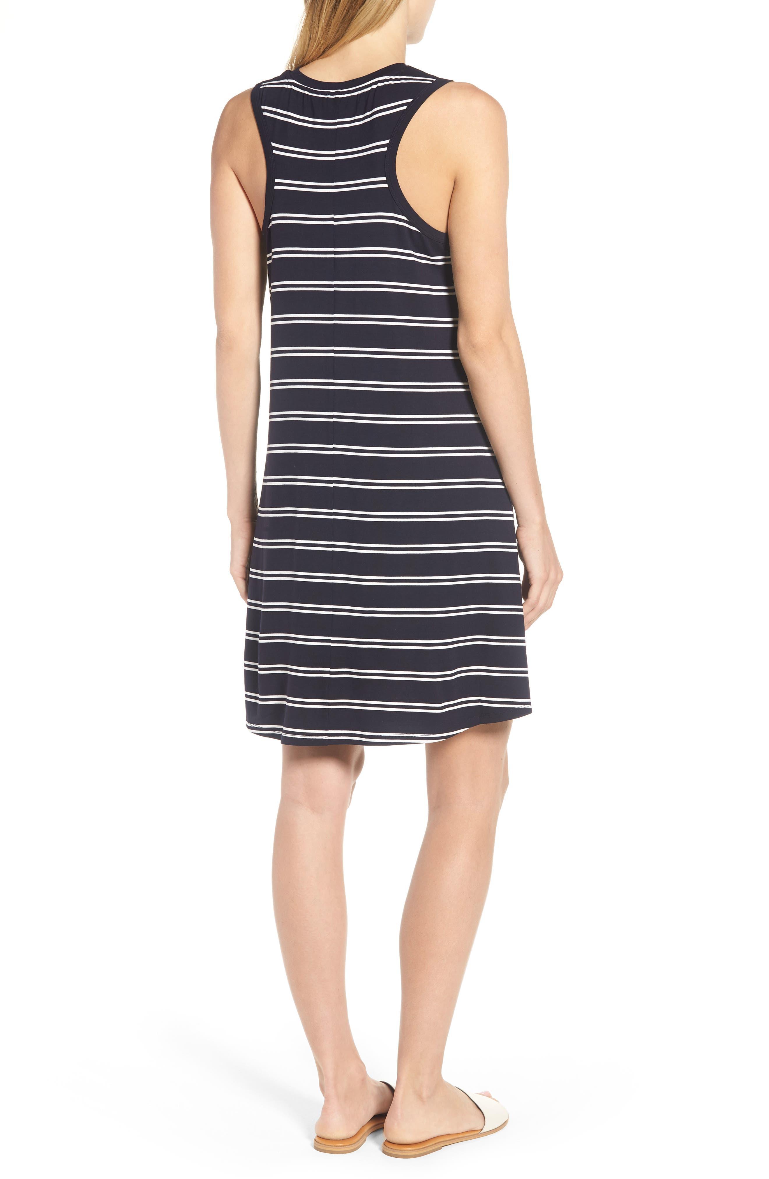 Stripe Tank Dress,                             Alternate thumbnail 2, color,                             Deepest Navy White