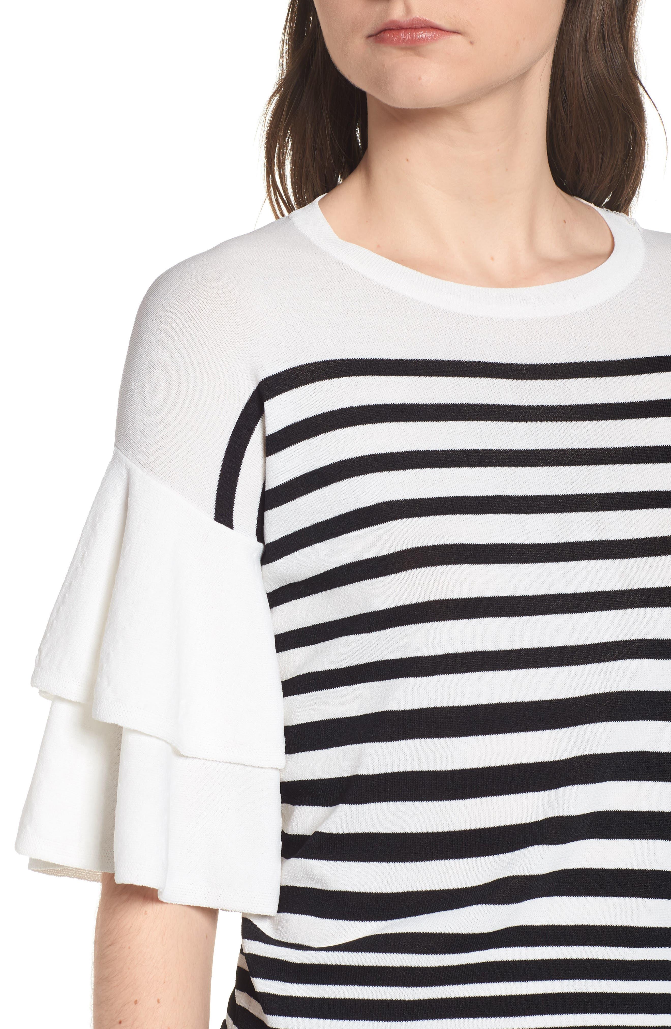 Marin Stripe Ruffle Sleeve Sweater,                             Alternate thumbnail 4, color,                             White/Black