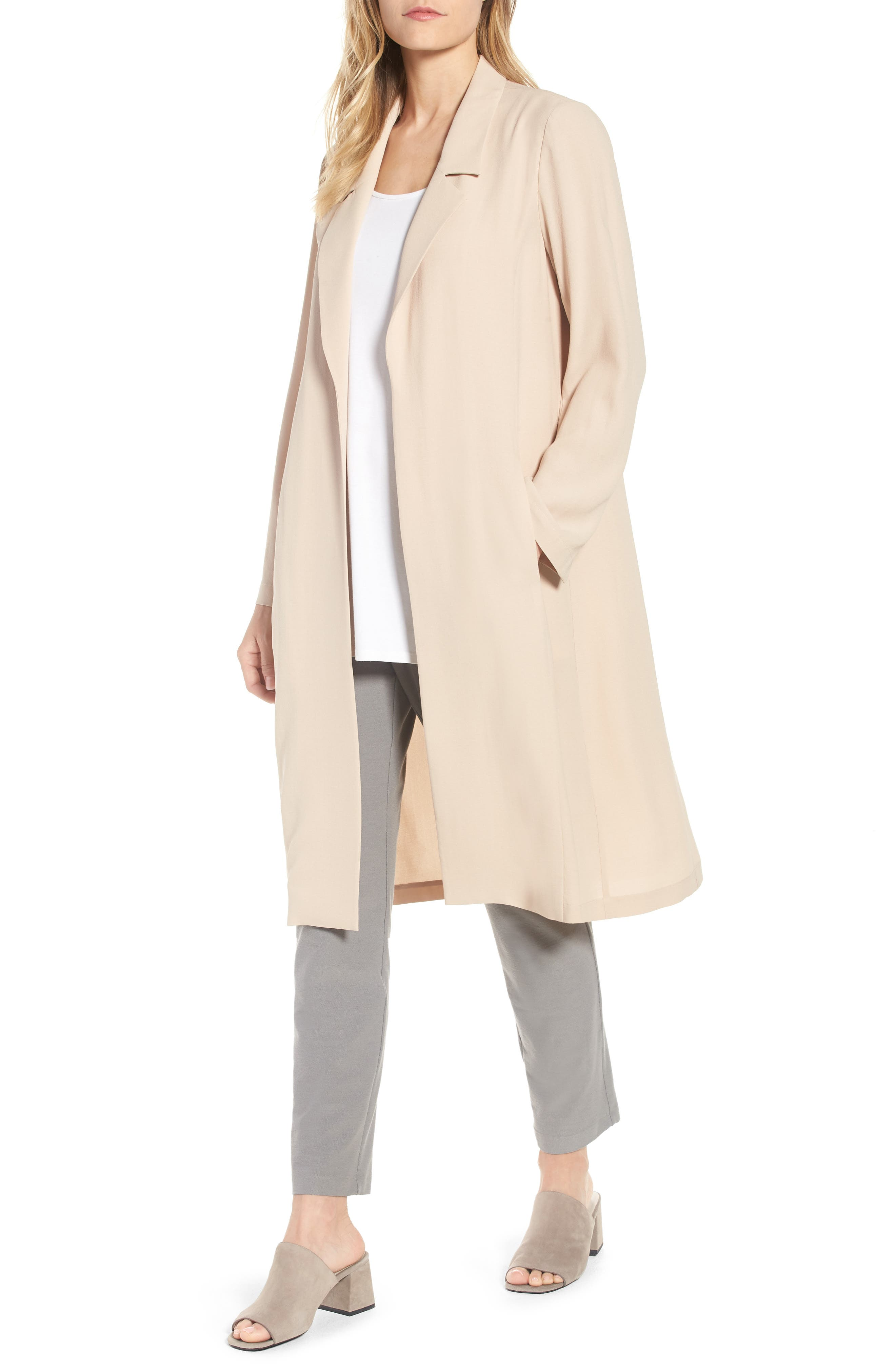 Long Silk Jacket,                         Main,                         color, Buttercream