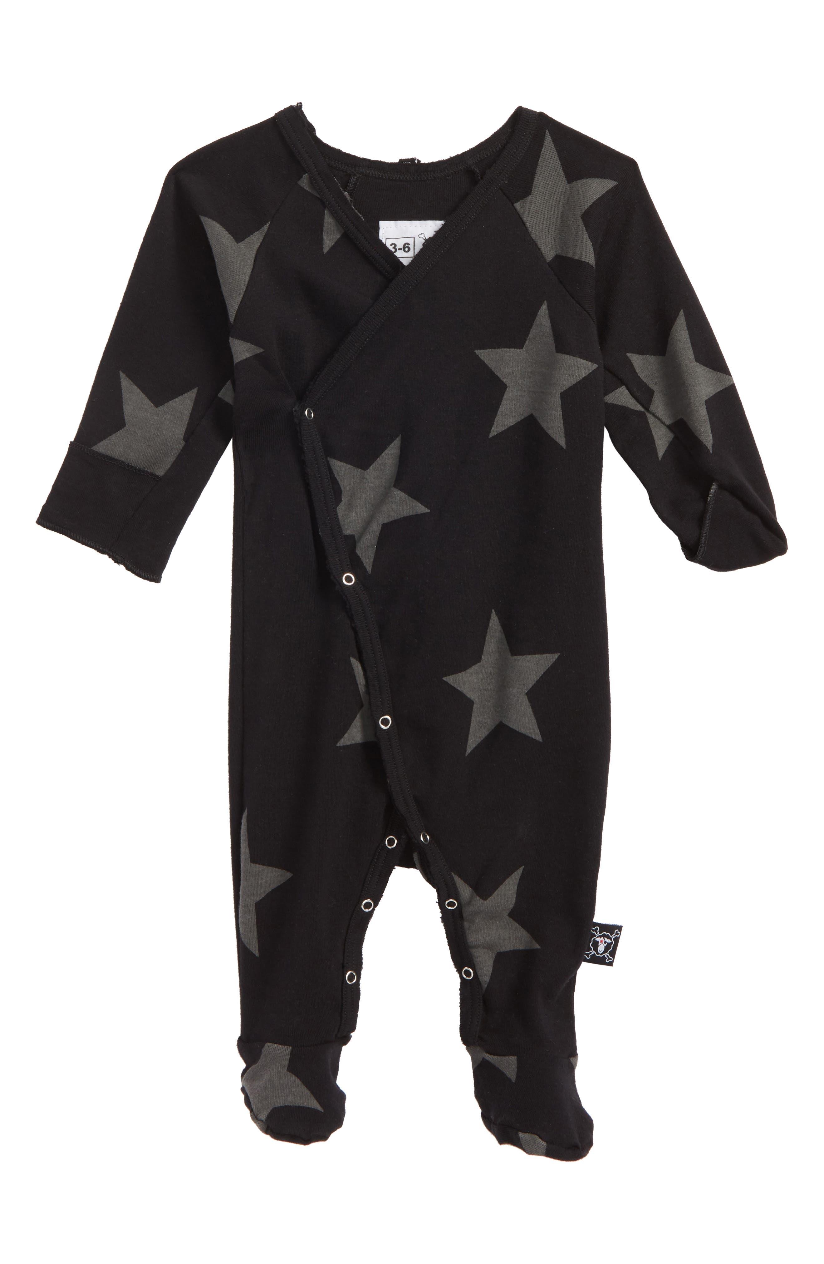 Star Print Footie,                         Main,                         color, Black