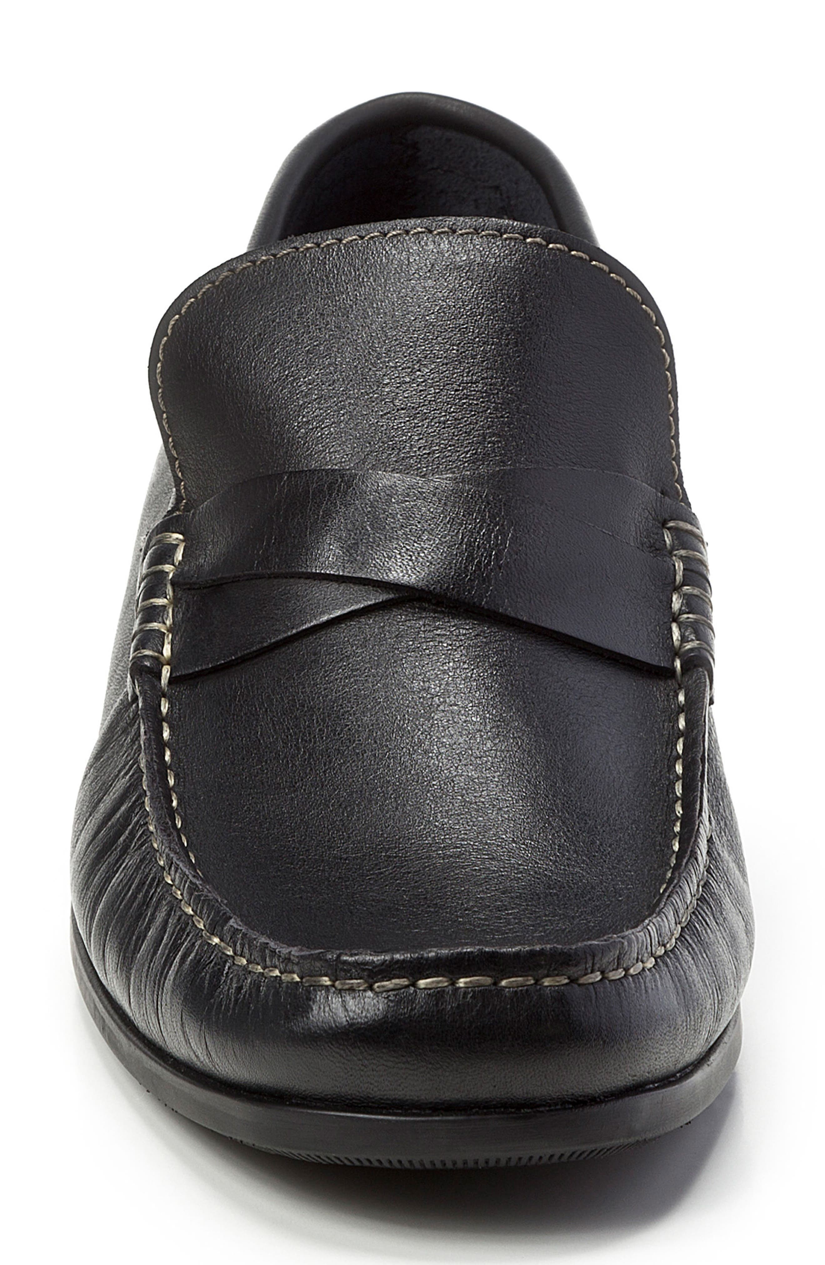 Abruzo Cross Strap Loafer,                             Alternate thumbnail 4, color,                             Black