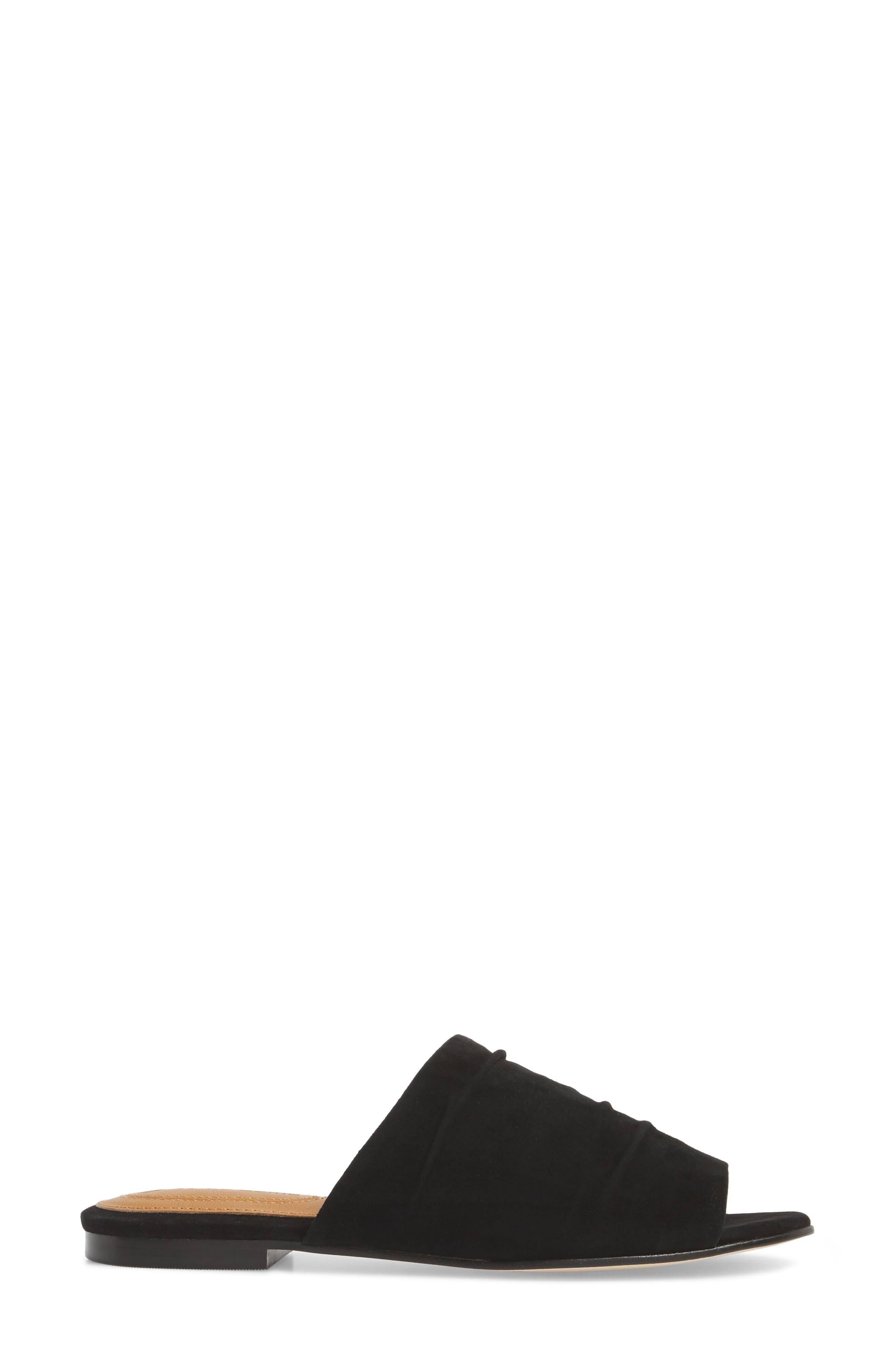 Beachaven Slide Sandal,                             Alternate thumbnail 3, color,                             Black Suede